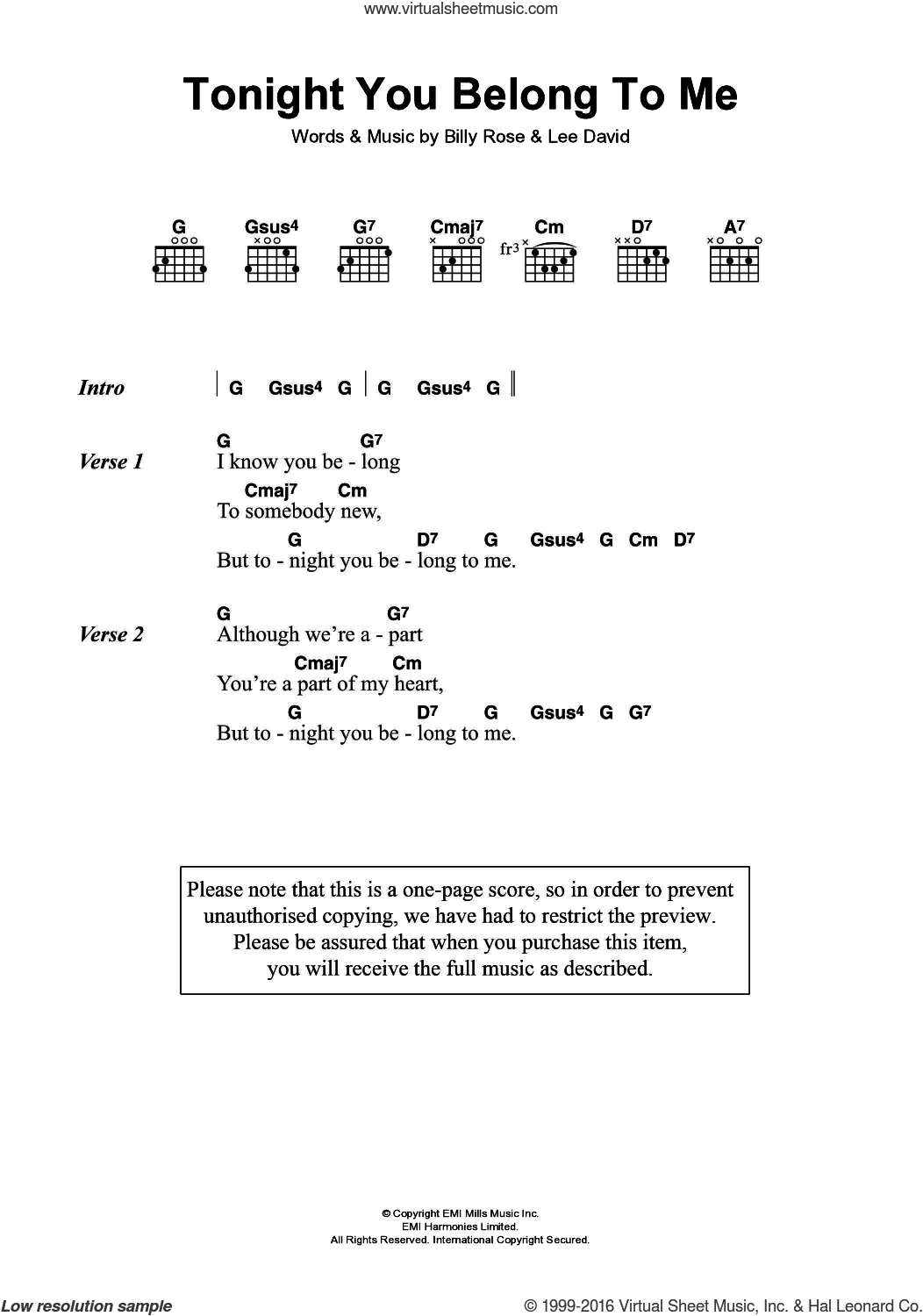 Tonight You Belong To Me sheet music for guitar (chords) by Eddie Vedder, Billy Rose and Lee David, intermediate