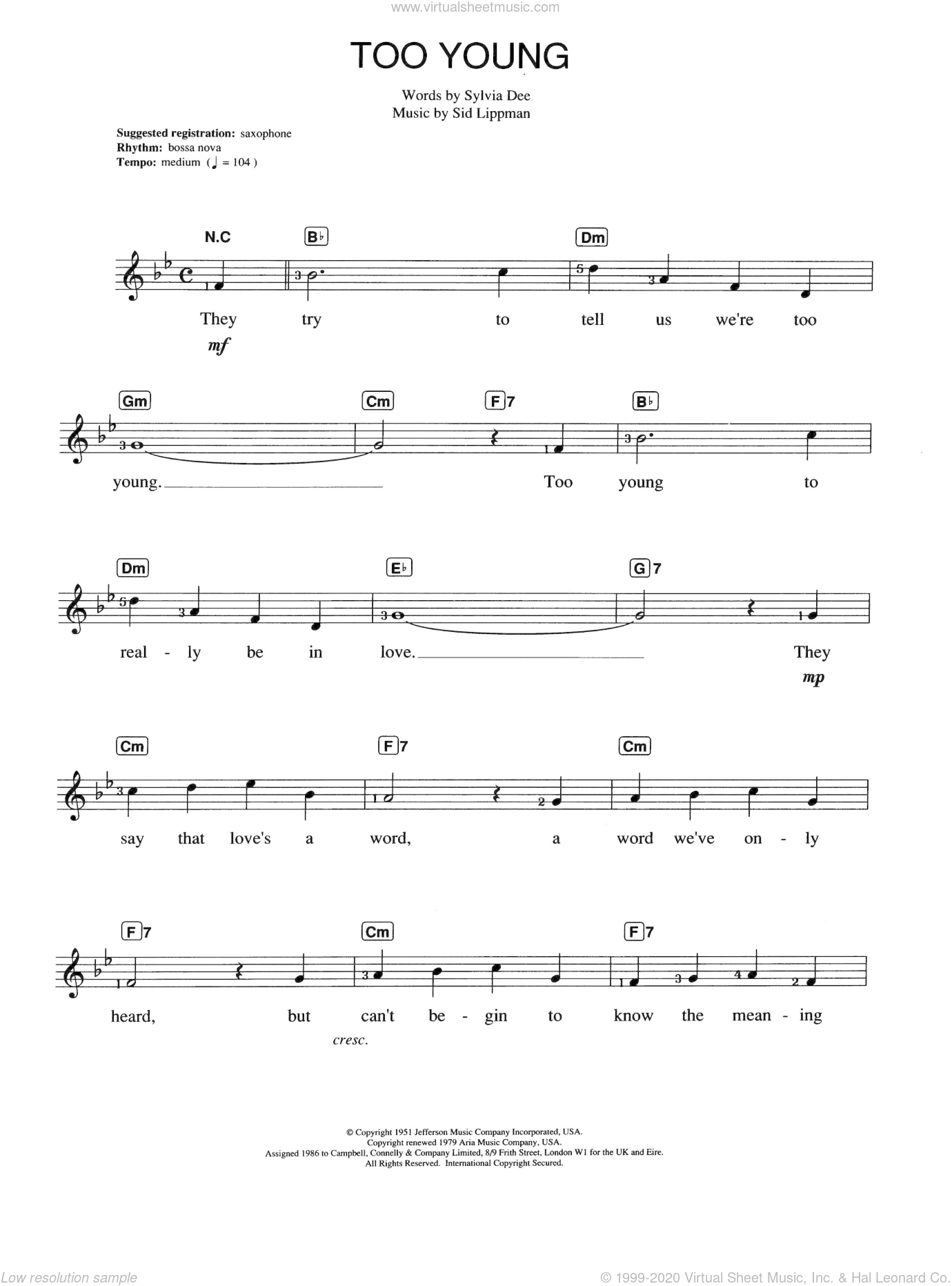 Too Young sheet music for piano solo (chords, lyrics, melody) by Nat King Cole and Sylvia Dee, intermediate piano (chords, lyrics, melody). Score Image Preview.