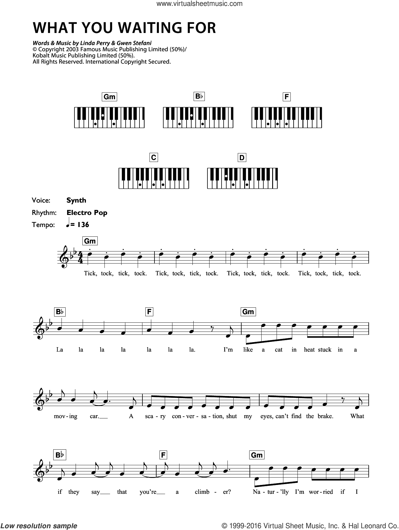 What You Waiting For sheet music for piano solo (chords, lyrics, melody) by Gwen Stefani, intermediate piano (chords, lyrics, melody). Score Image Preview.