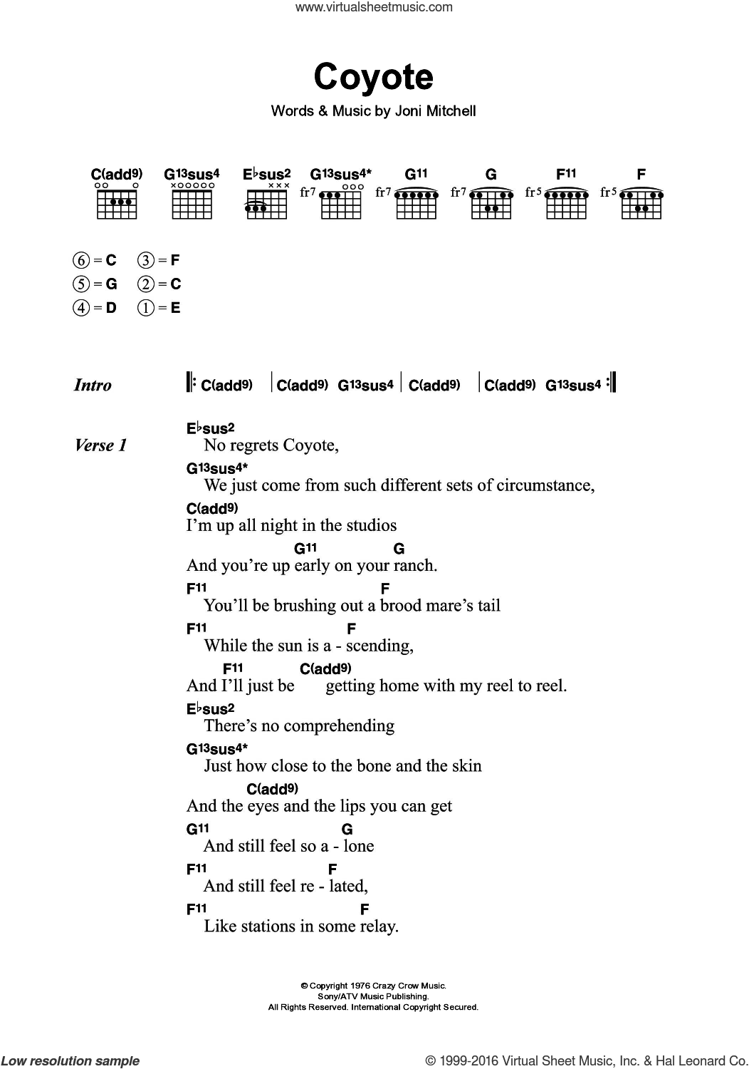 Coyote sheet music for guitar (chords) by Joni Mitchell. Score Image Preview.