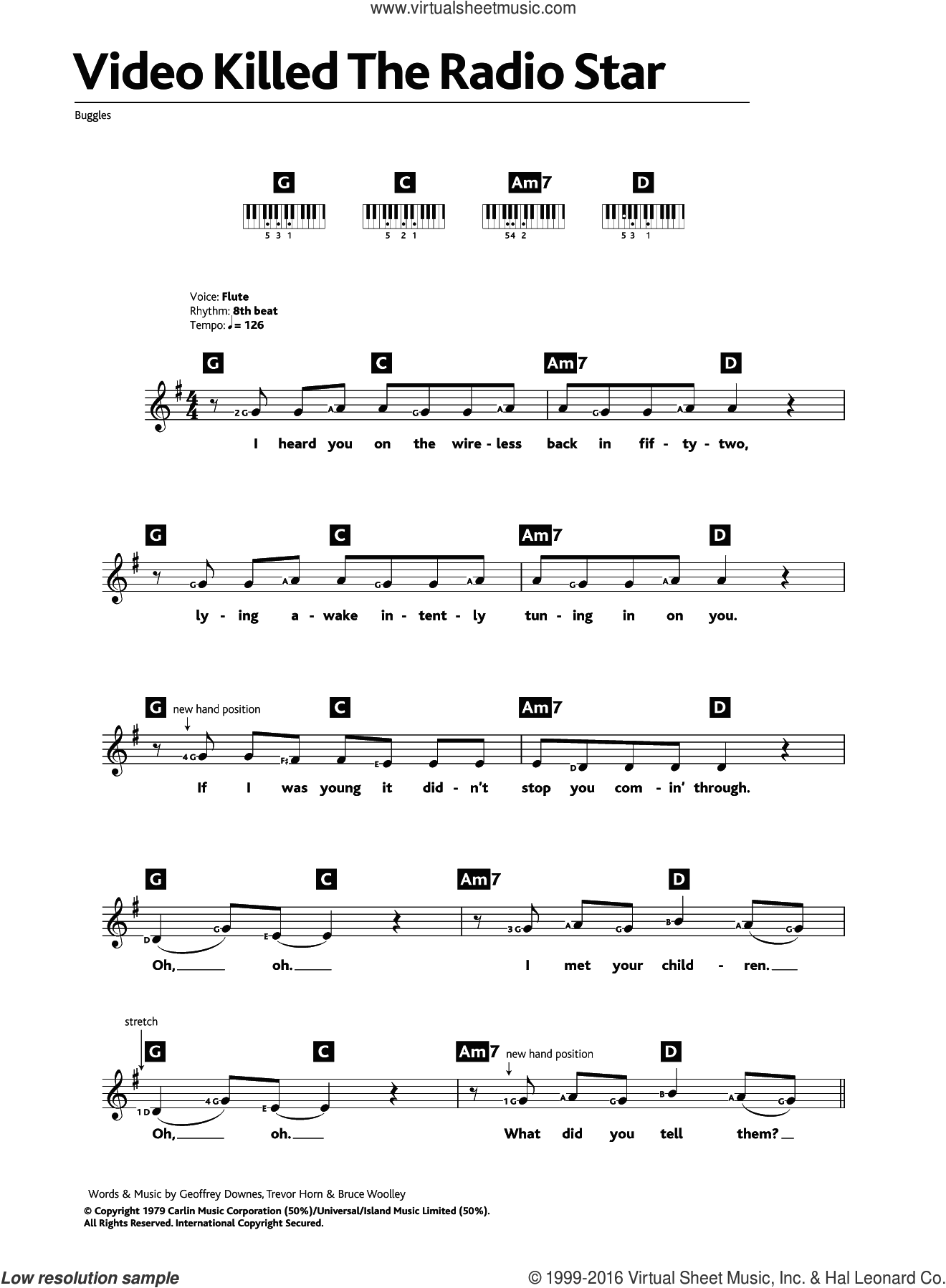 Video Killed The Radio Star sheet music for piano solo (chords, lyrics, melody) by Trevor Horn, Bruce Woolley and Geoff Downes. Score Image Preview.