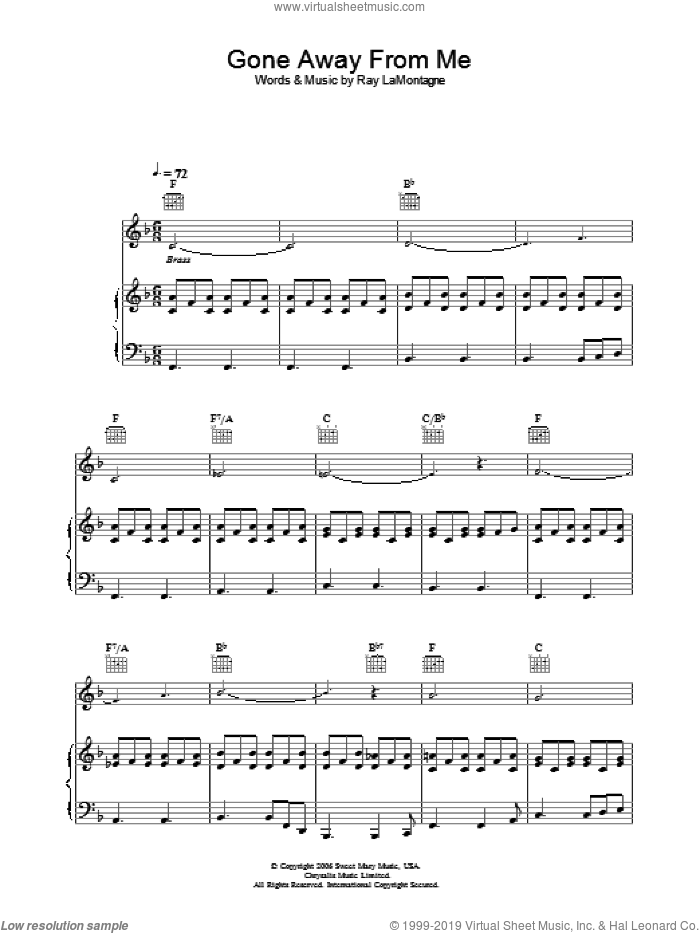Gone Away From Me sheet music for voice, piano or guitar by Ray LaMontagne. Score Image Preview.