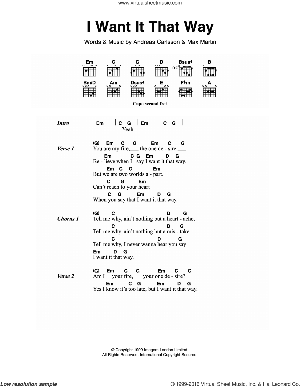 I Want It That Way sheet music for guitar (chords) by Max Martin, Backstreet Boys and Andreas Carlsson. Score Image Preview.