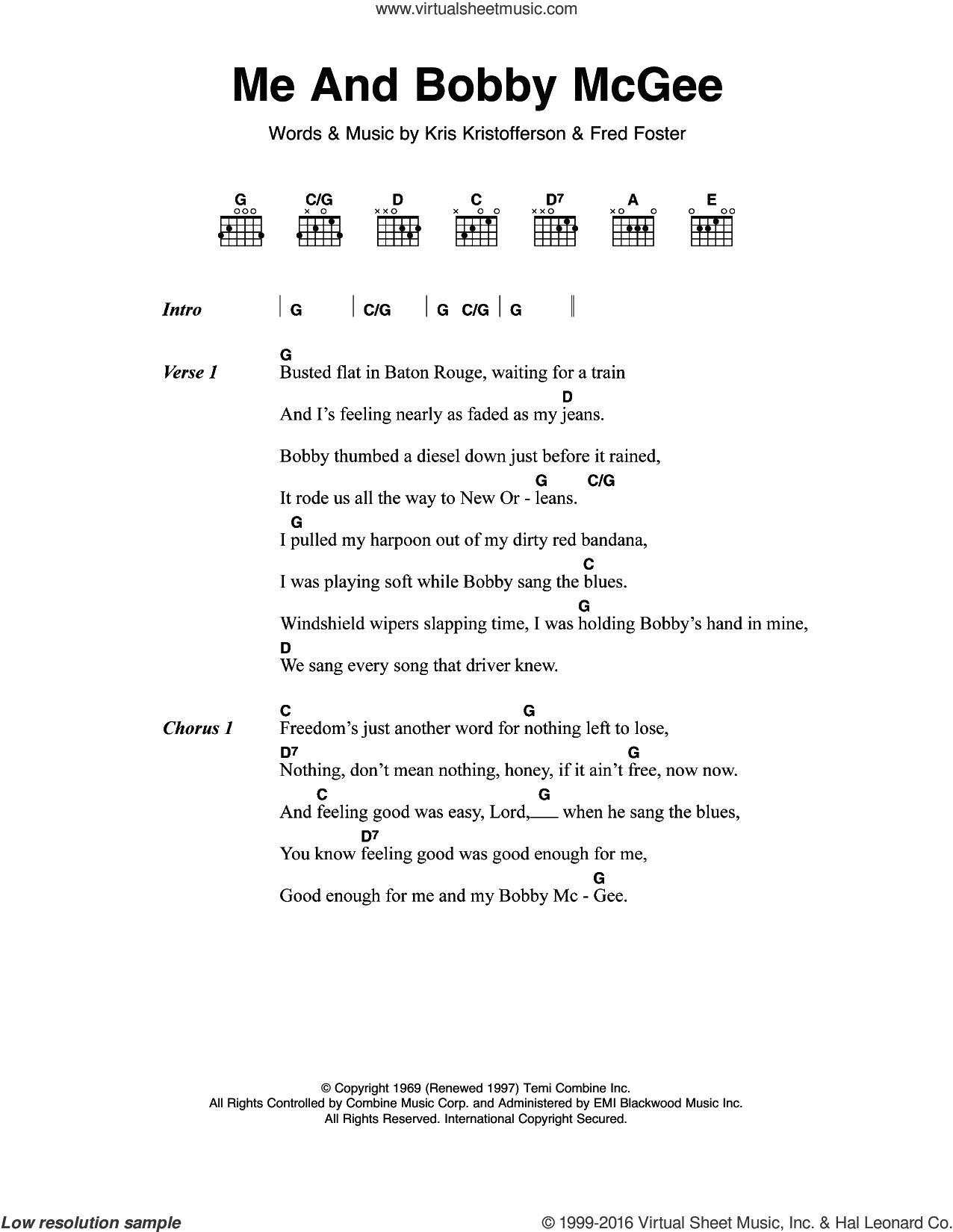 Me And Bobby McGee sheet music for guitar (chords) by Janis Joplin, Fred Foster and Kris Kristofferson, intermediate skill level