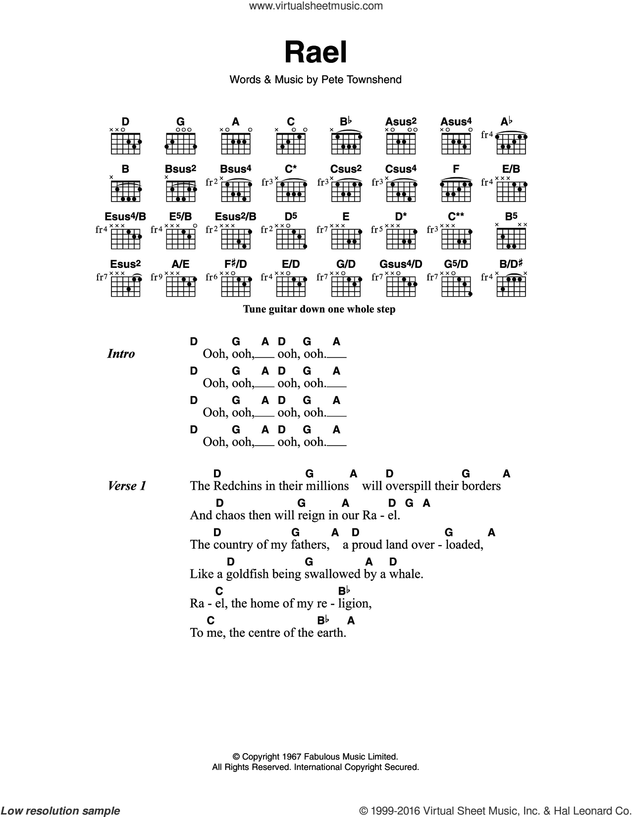 Rael sheet music for guitar (chords) by The Who and Pete Townshend, intermediate guitar (chords). Score Image Preview.