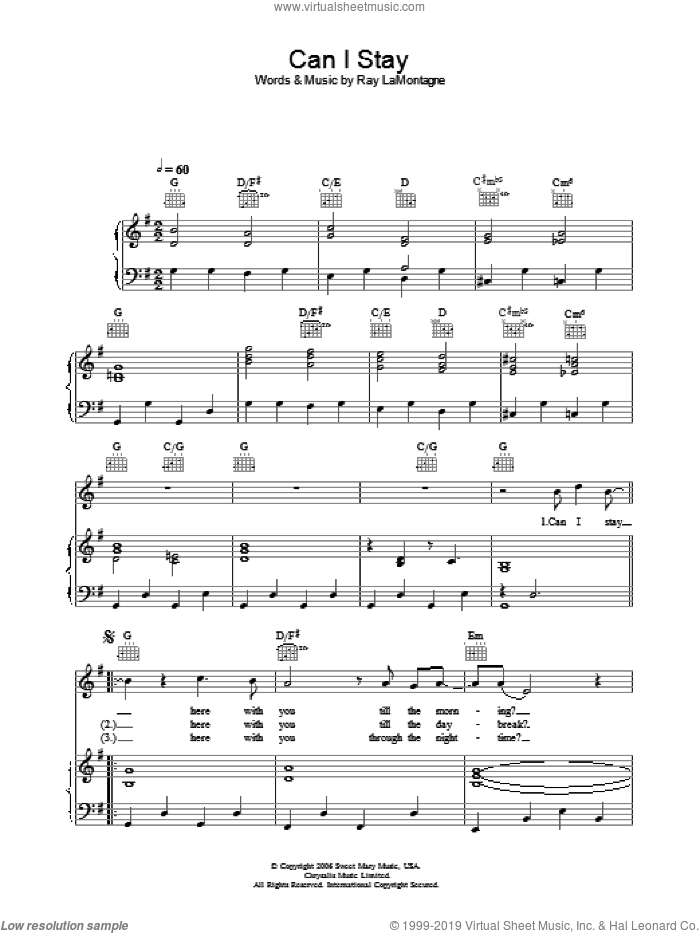 Can I Stay sheet music for voice, piano or guitar by Ray LaMontagne, intermediate voice, piano or guitar. Score Image Preview.