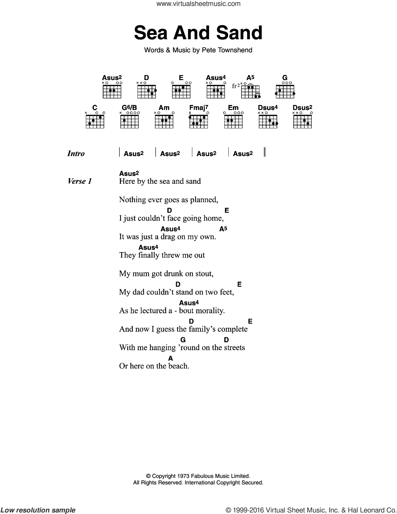 Sea And Sand sheet music for guitar (chords) by The Who and Pete Townshend. Score Image Preview.