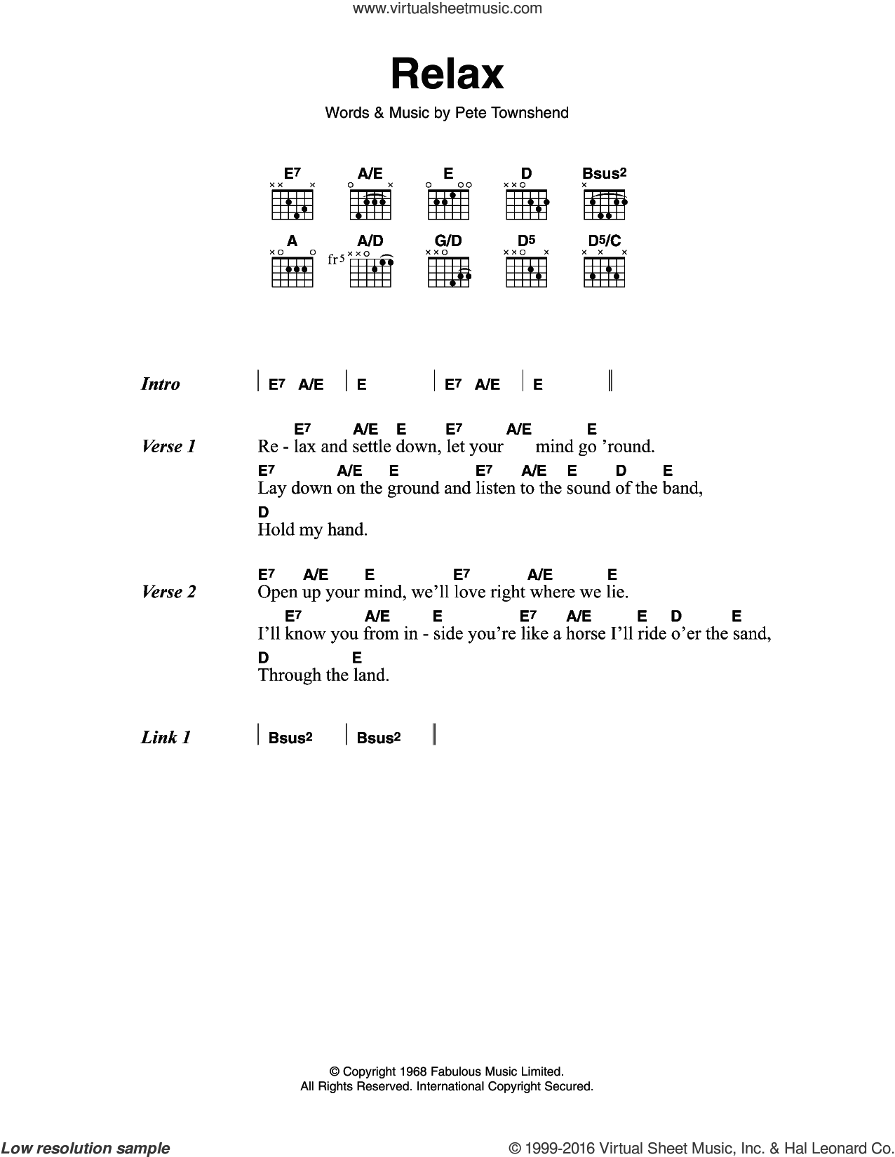Relax sheet music for guitar (chords) by Pete Townshend and The Who. Score Image Preview.