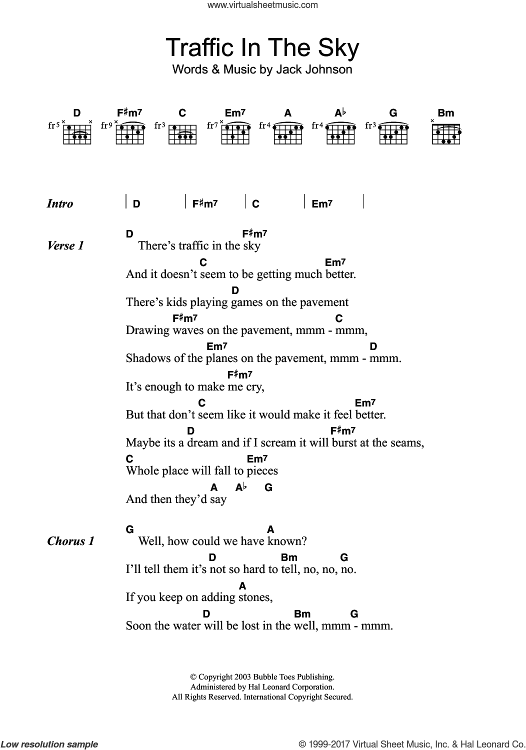 Johnson Traffic In The Sky Sheet Music For Guitar Chords