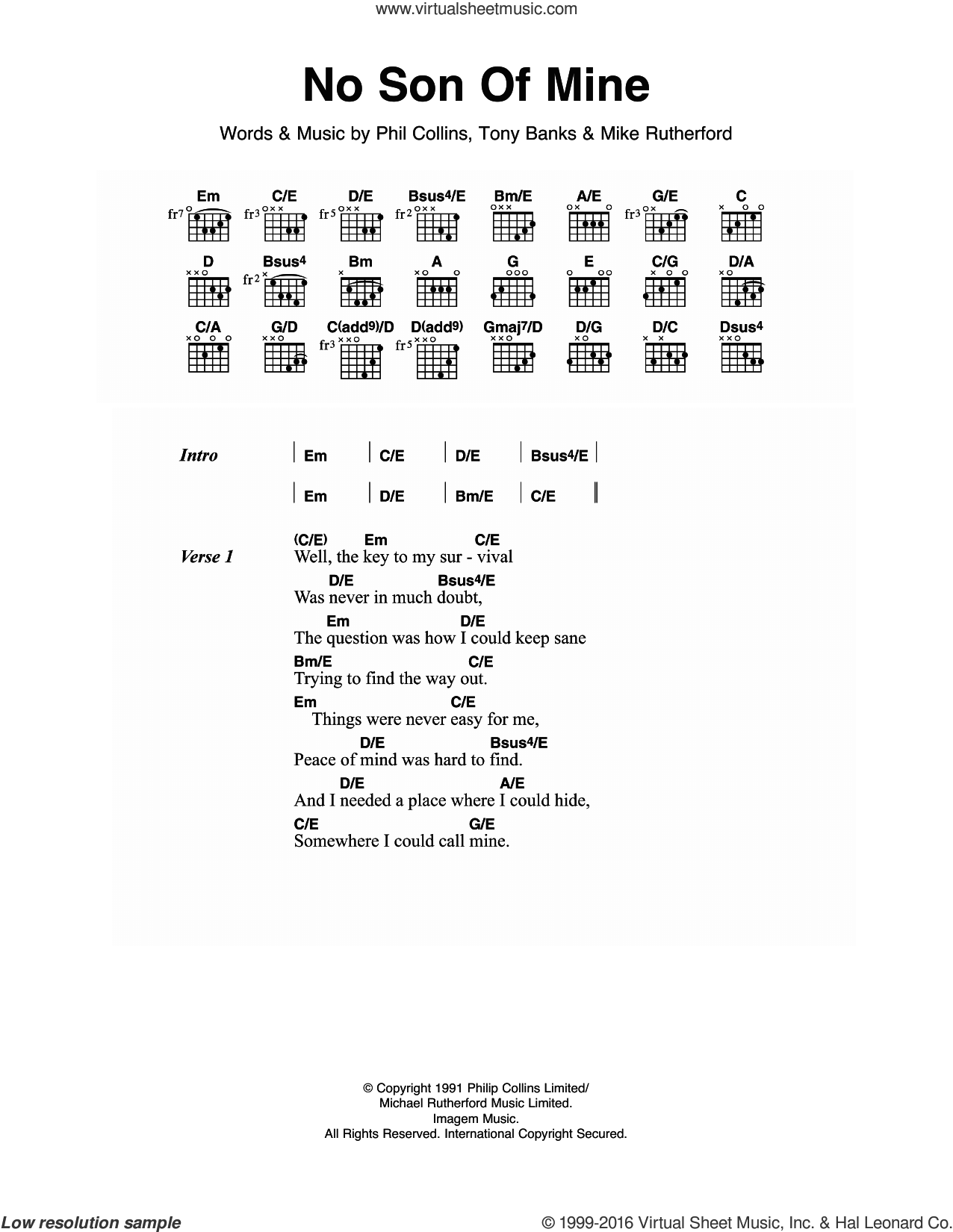 No Son Of Mine sheet music for guitar (chords) by Tony Banks, Genesis, Mike Rutherford and Phil Collins. Score Image Preview.