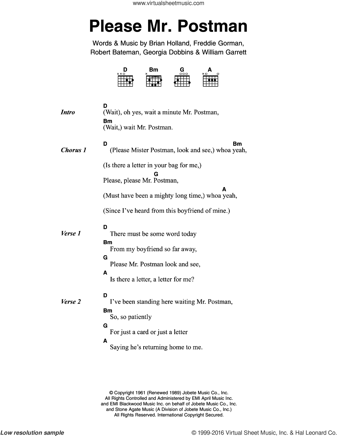 Please Mr. Postman sheet music for guitar (chords) by The Marvelettes, Brian Holland and Robert Bateman, intermediate. Score Image Preview.