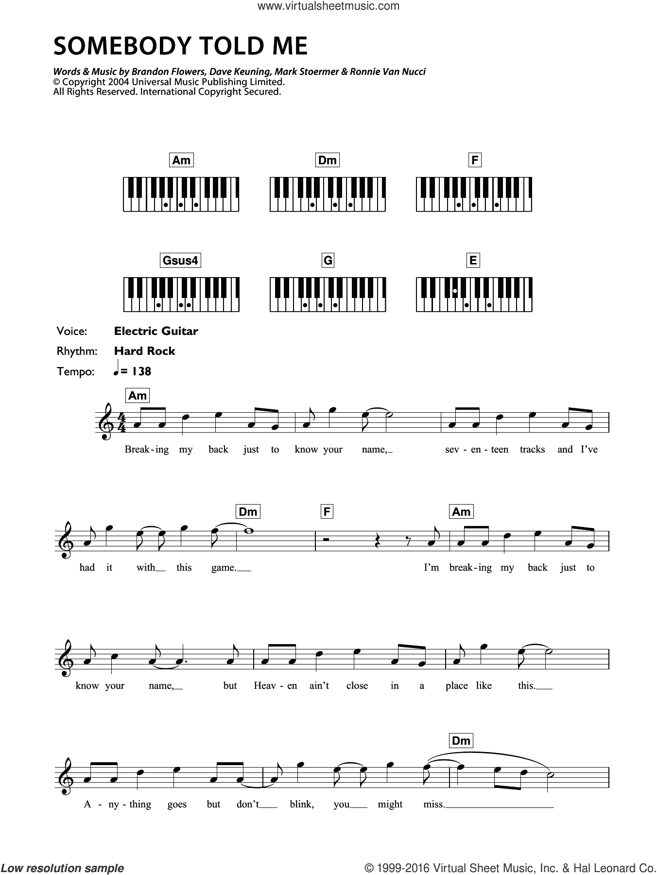 Somebody Told Me sheet music for piano solo (chords, lyrics, melody) by Ronnie Vannucci, The Killers, Brandon Flowers, Dave Keuning and Mark Stoermer. Score Image Preview.