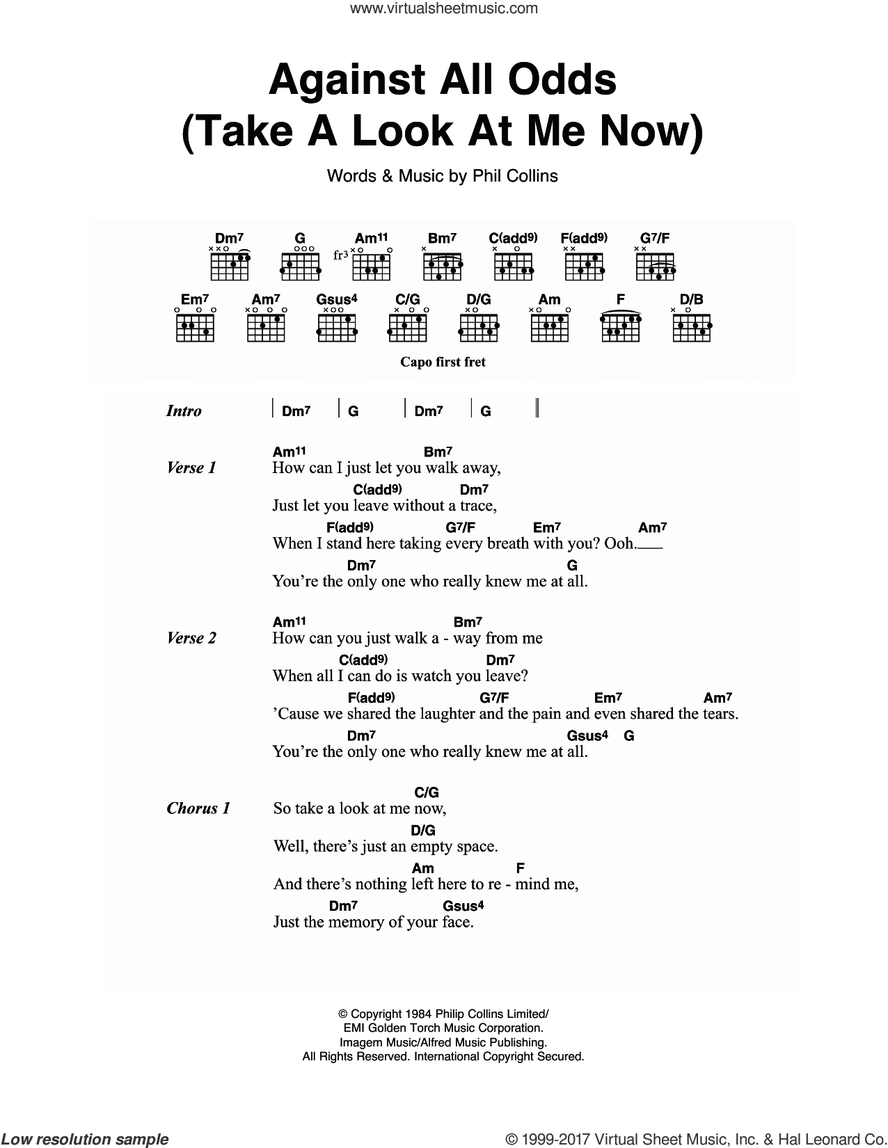 Collins Against All Odds Take A Look At Me Now Sheet Music For