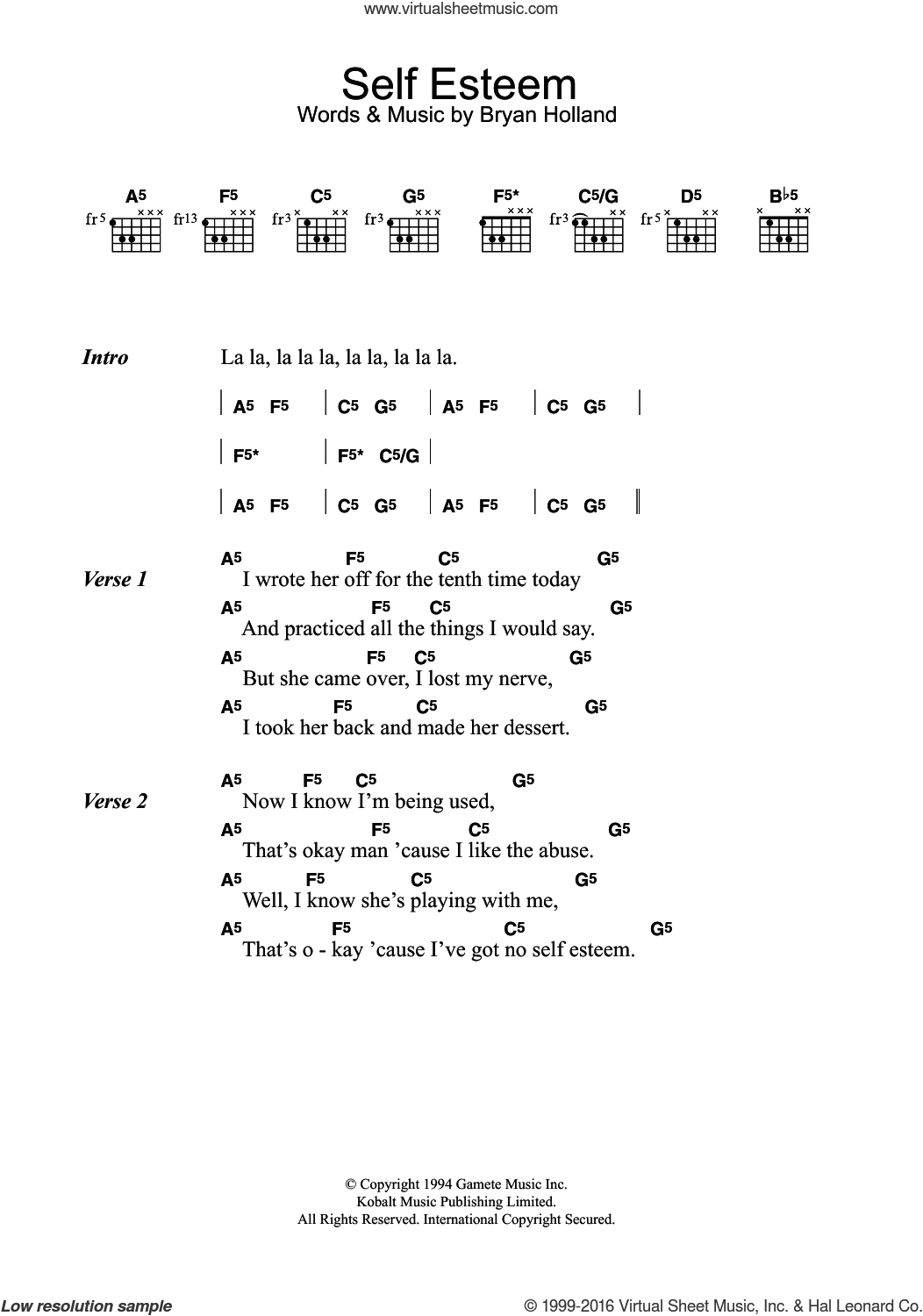 Self Esteem sheet music for guitar (chords) by The Offspring and Bryan Holland, intermediate skill level