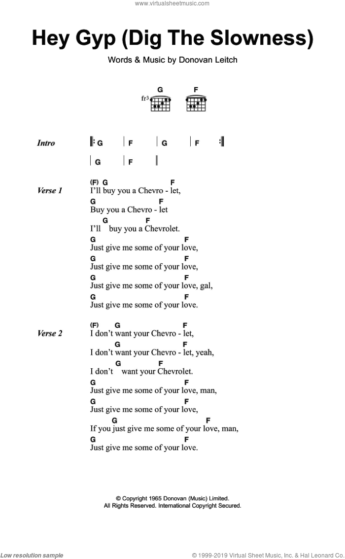 Hey Gyp (Dig The Slowness) sheet music for guitar (chords) by Donovan Leitch