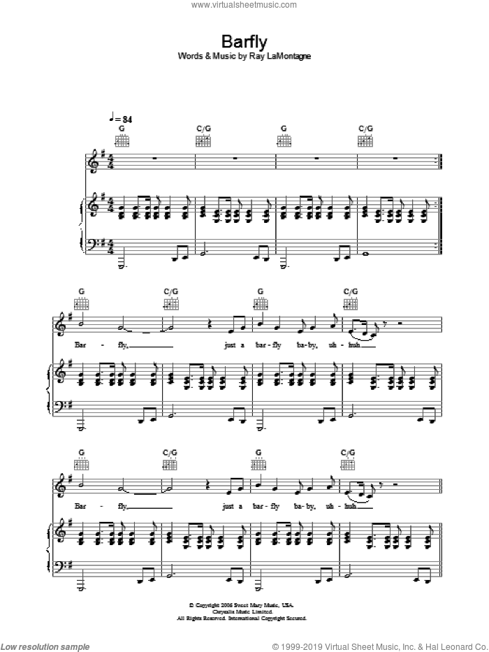 Barfly sheet music for voice, piano or guitar by Ray LaMontagne. Score Image Preview.