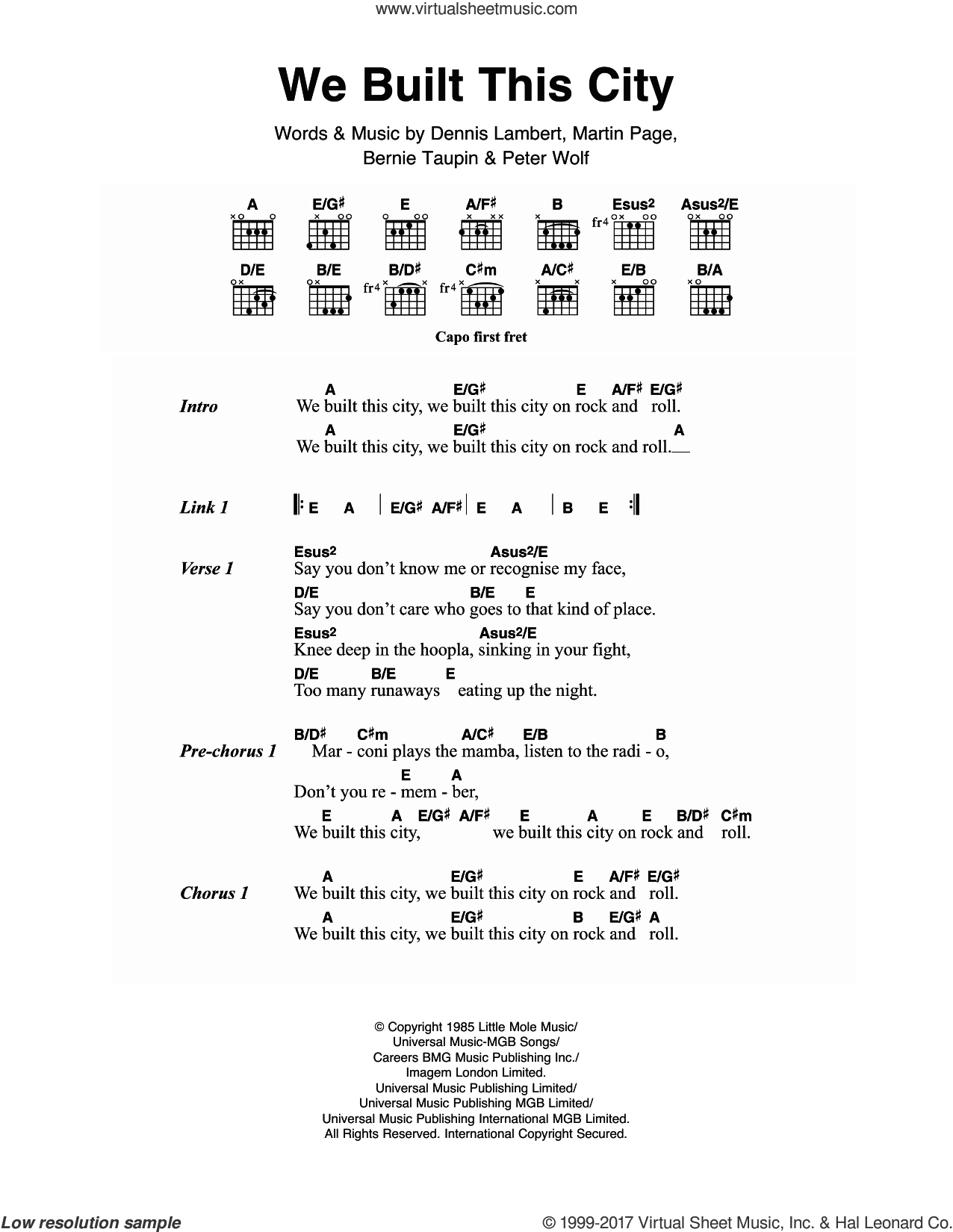 We Built This City sheet music for guitar (chords) by Starship, Bernie Taupin, Dennis Lambert, Martin George Page and Peter Wolf, intermediate skill level