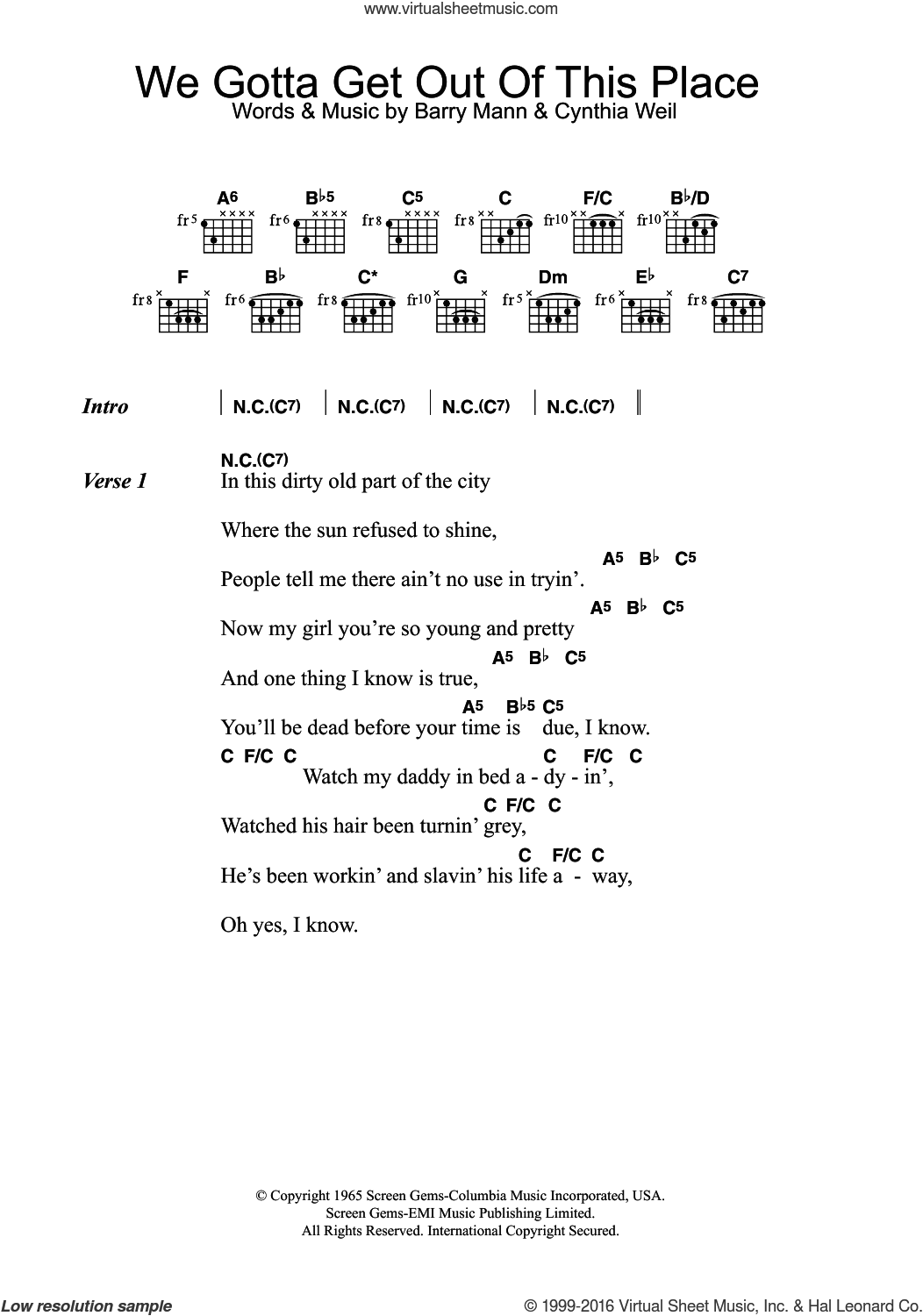Animals We Gotta Get Out Of This Place Sheet Music For Guitar Chords