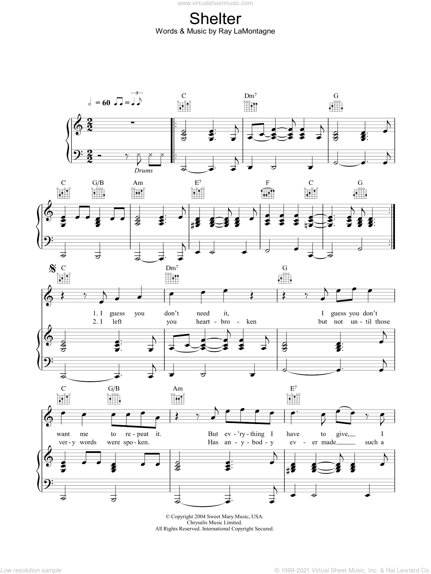 Shelter sheet music for voice, piano or guitar by Ray LaMontagne, intermediate. Score Image Preview.