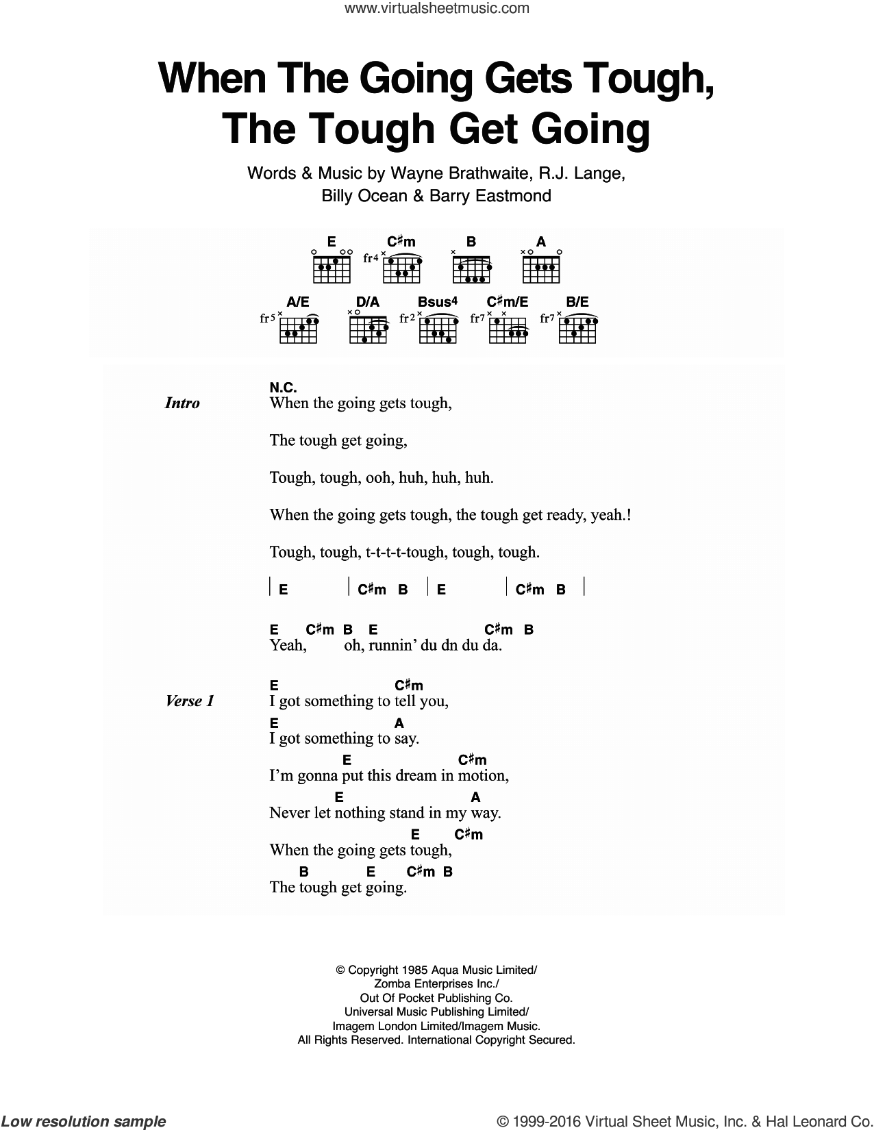When The Going Gets Tough, The Tough Get Going sheet music for guitar (chords) by Billy Ocean, Barry Eastmond, Robert John Lange and Wayne Brathwaite, intermediate skill level