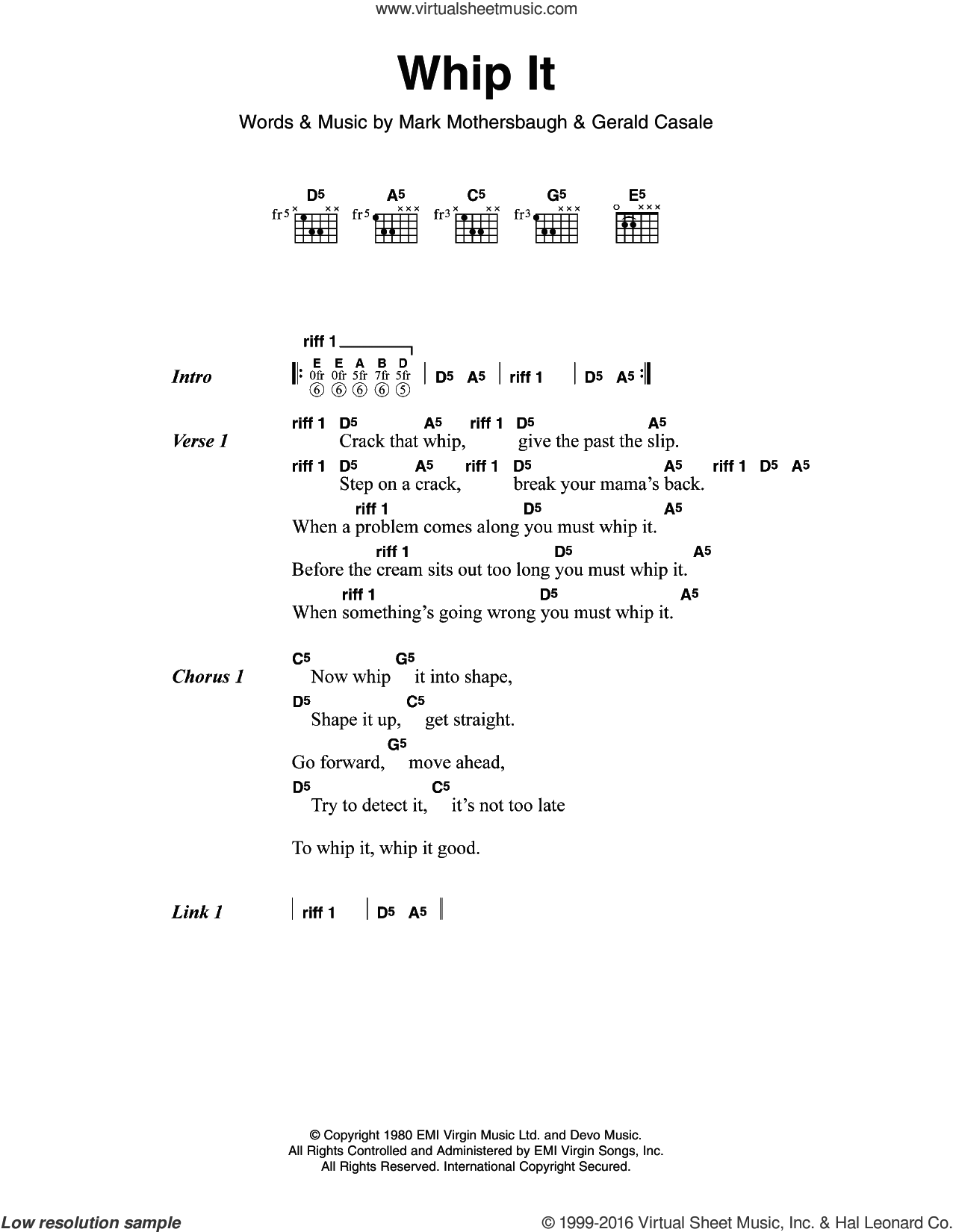 Whip It sheet music for guitar (chords) by Mark Mothersbaugh and Devo. Score Image Preview.