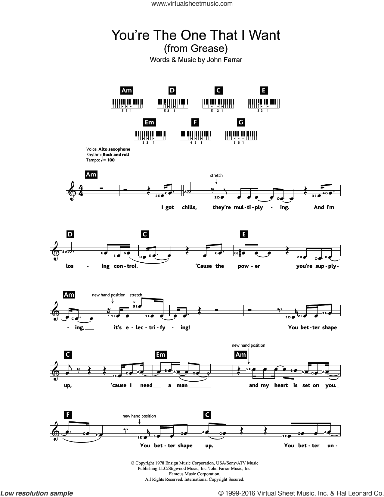 You're The One That I Want (from Grease) sheet music for piano solo (chords, lyrics, melody) by John Farrar, intermediate piano (chords, lyrics, melody)