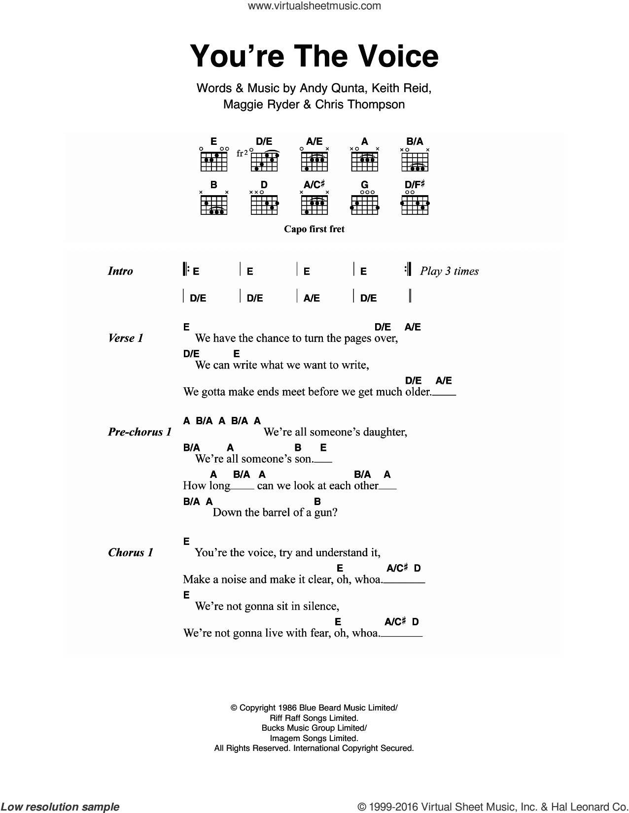 You're The Voice sheet music for guitar (chords) by John Farnham, Andy Qunta, Chris Thompson, Keith Reid and Maggie Ryder, intermediate