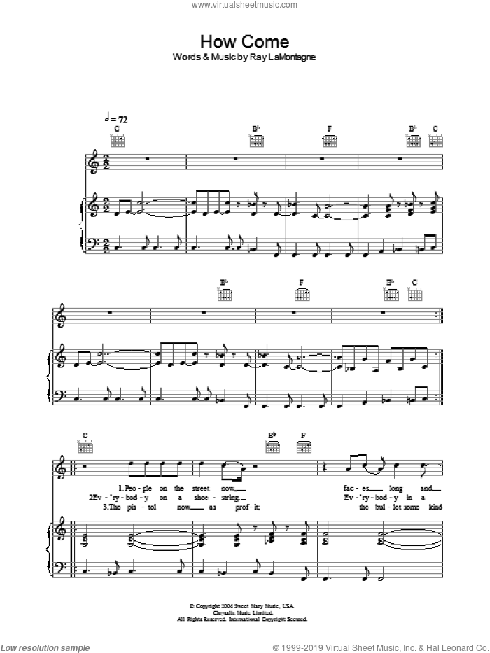 How Come sheet music for voice, piano or guitar by Ray LaMontagne. Score Image Preview.