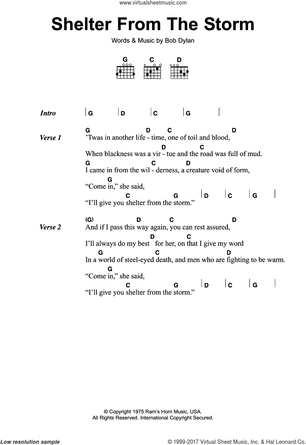 Shelter From The Storm sheet music for guitar (chords) by Bob Dylan, intermediate skill level