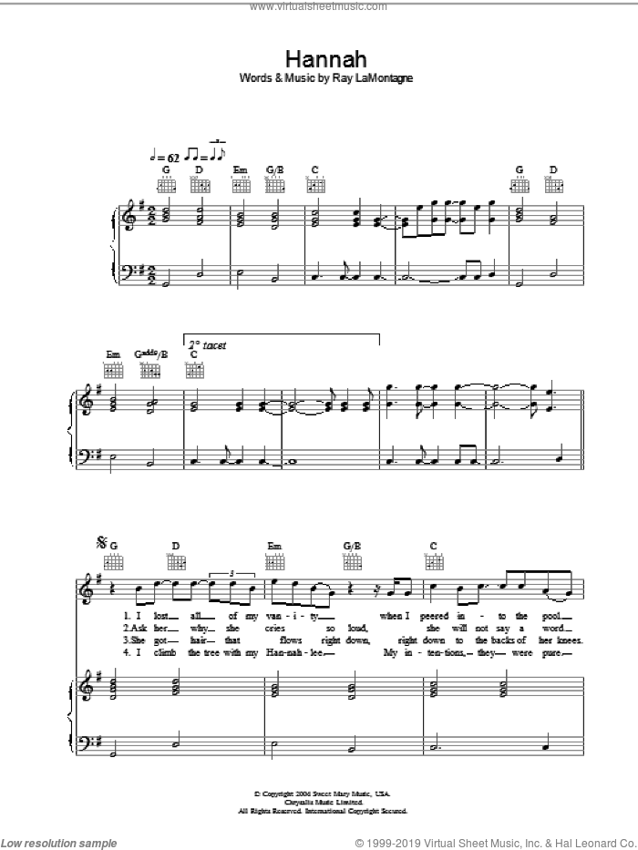 Hannah sheet music for voice, piano or guitar by Ray LaMontagne. Score Image Preview.