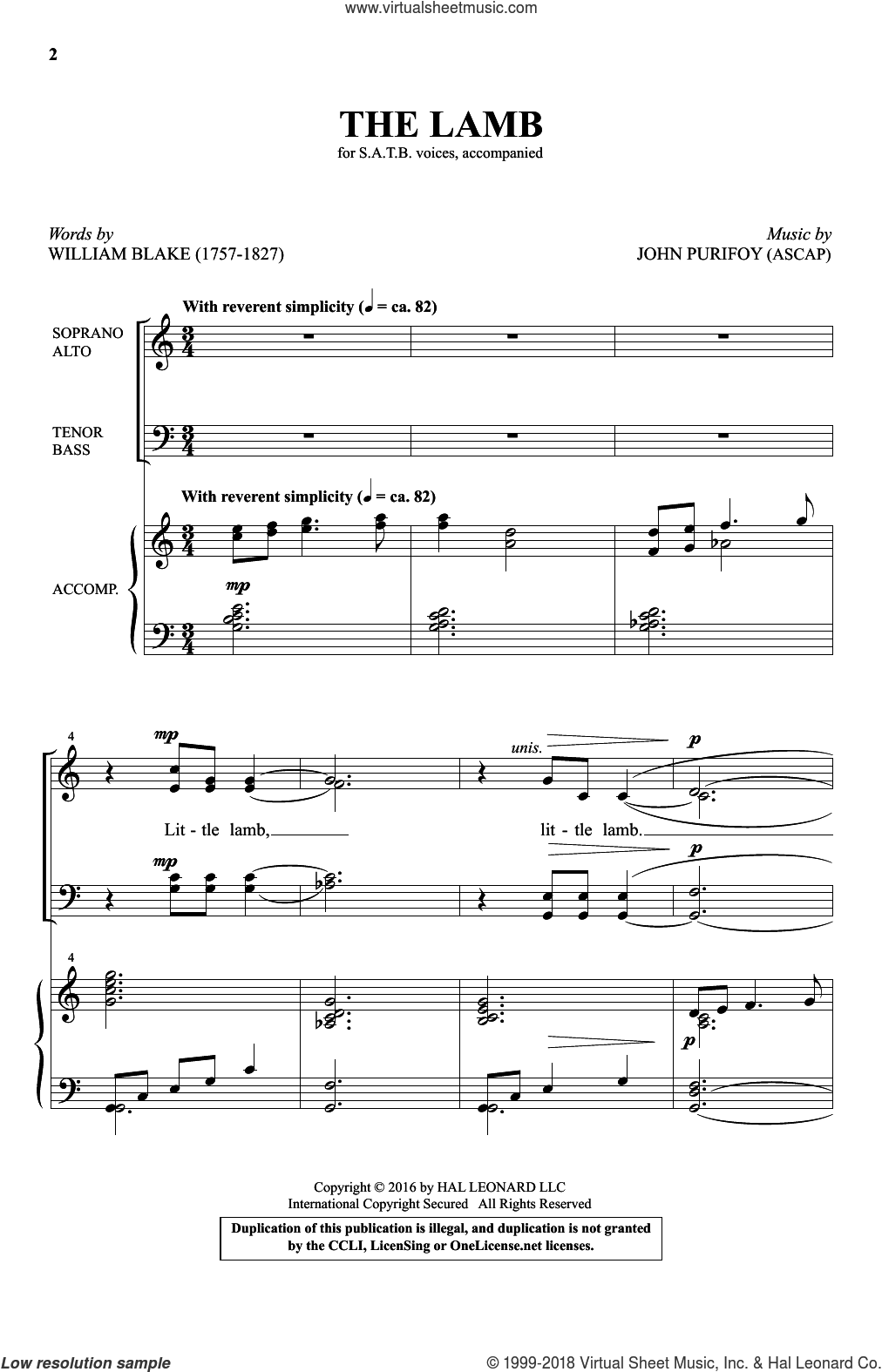 The Lamb sheet music for choir (SATB) by John Purifoy and William Blake, intermediate choir (SATB). Score Image Preview.