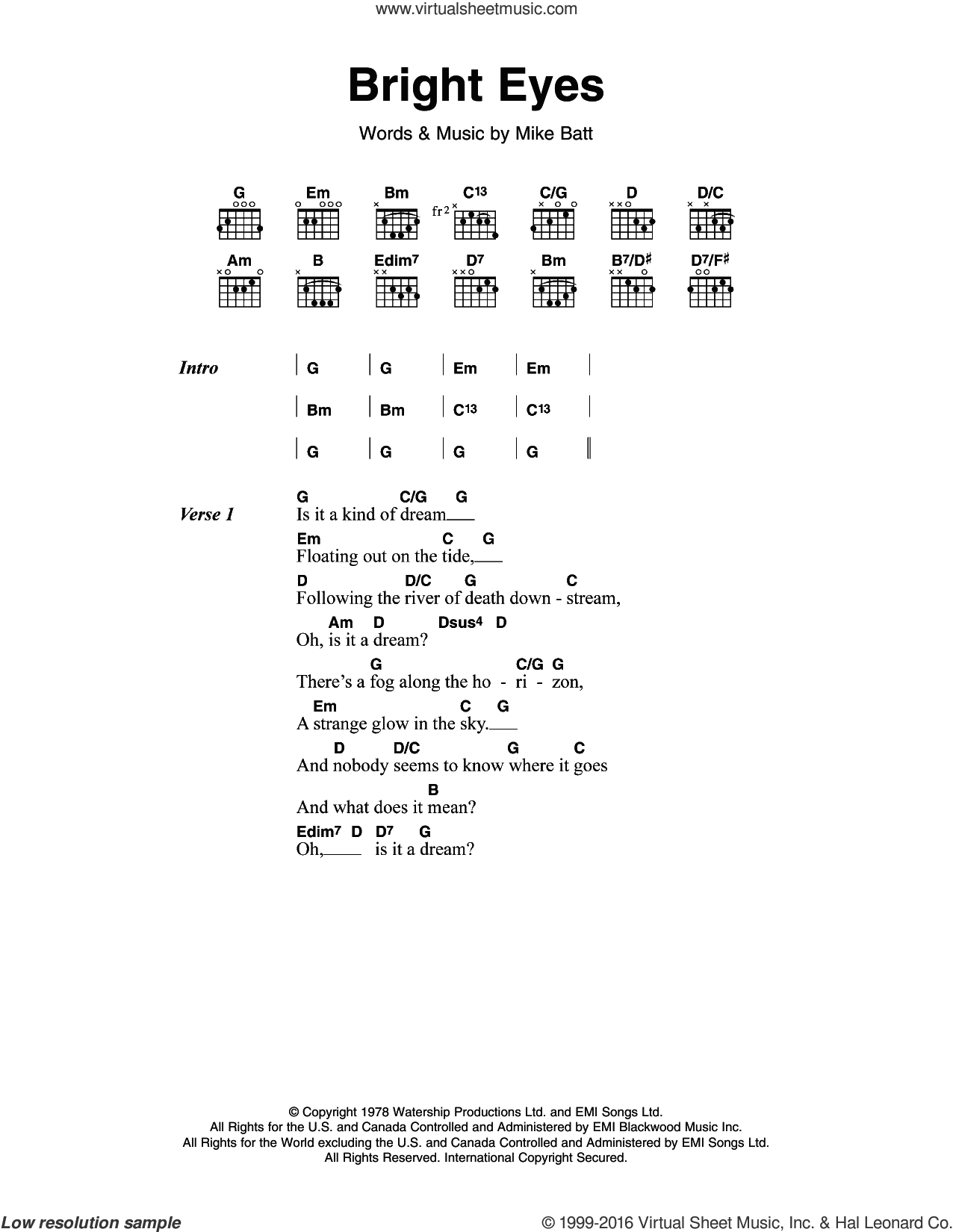 Bright Eyes sheet music for guitar (chords) by Art Garfunkel and Mike Batt, intermediate skill level