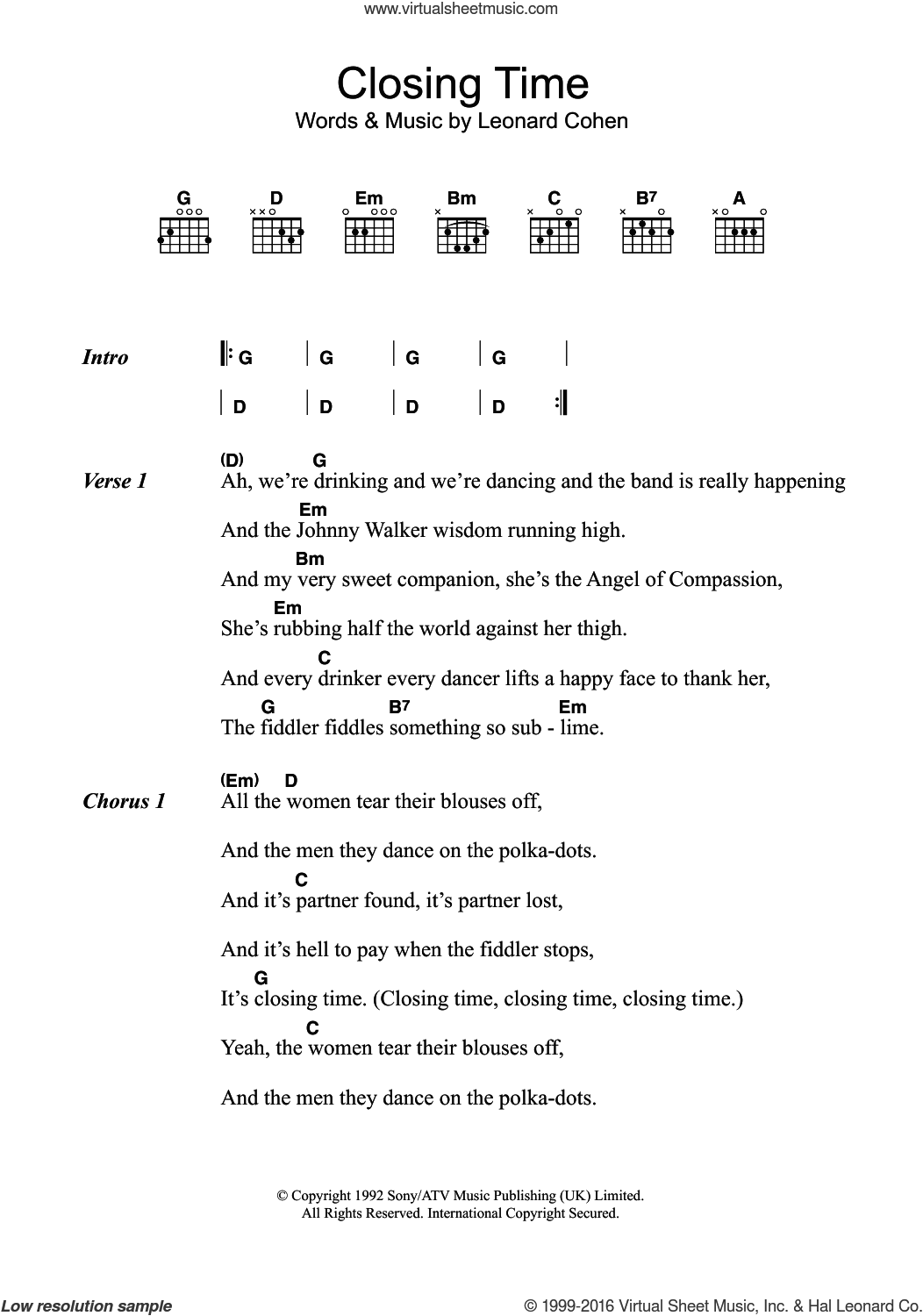 Cohen Closing Time Sheet Music For Guitar Chords Pdf