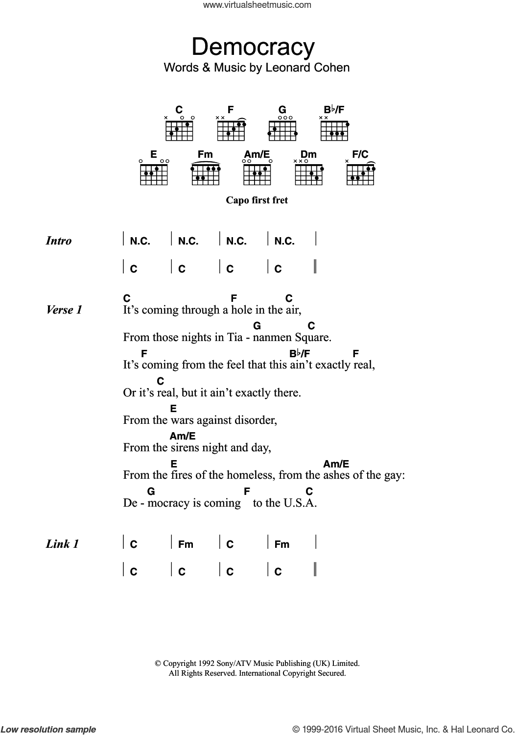 Democracy sheet music for guitar (chords) by Leonard Cohen. Score Image Preview.