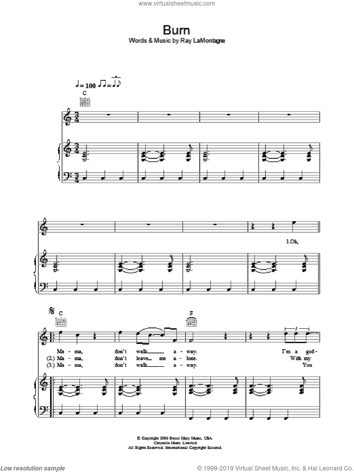 Burn sheet music for voice, piano or guitar by Ray LaMontagne, intermediate voice, piano or guitar. Score Image Preview.