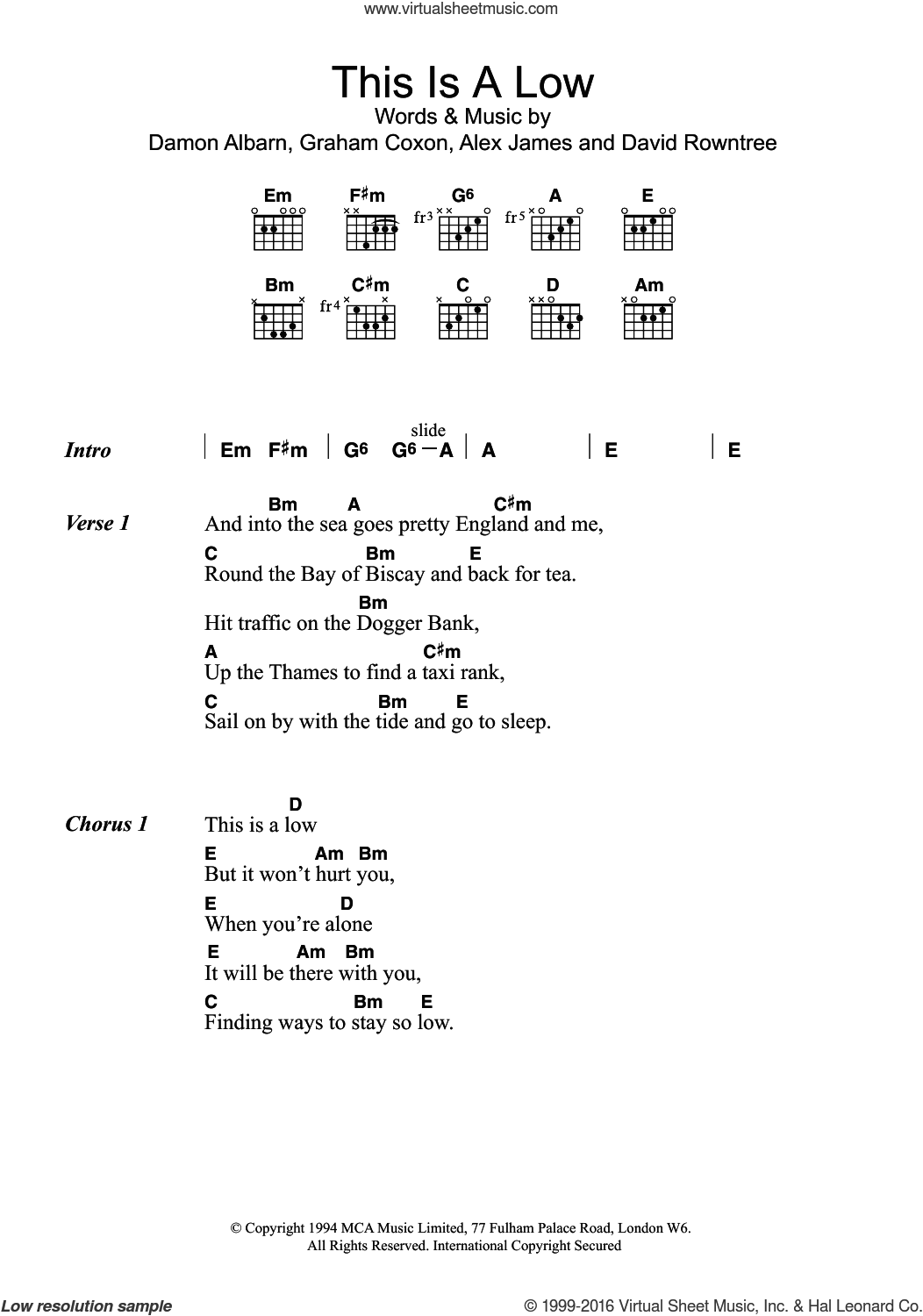 Blur This Is A Low Sheet Music For Guitar Chords Pdf