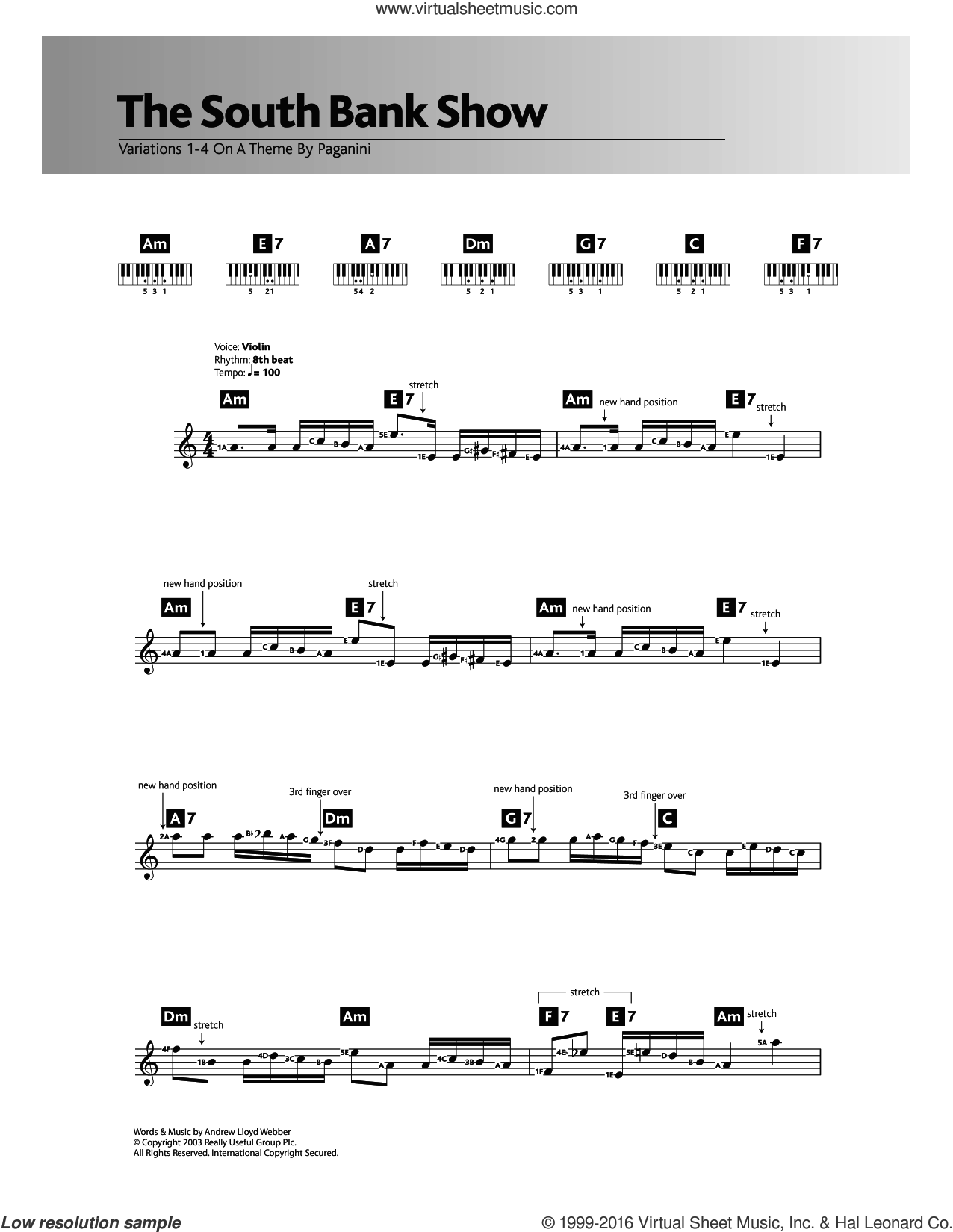 Variations 1-4 (theme from The South Bank Show) sheet music for piano solo (chords, lyrics, melody) by Andrew Lloyd Webber. Score Image Preview.