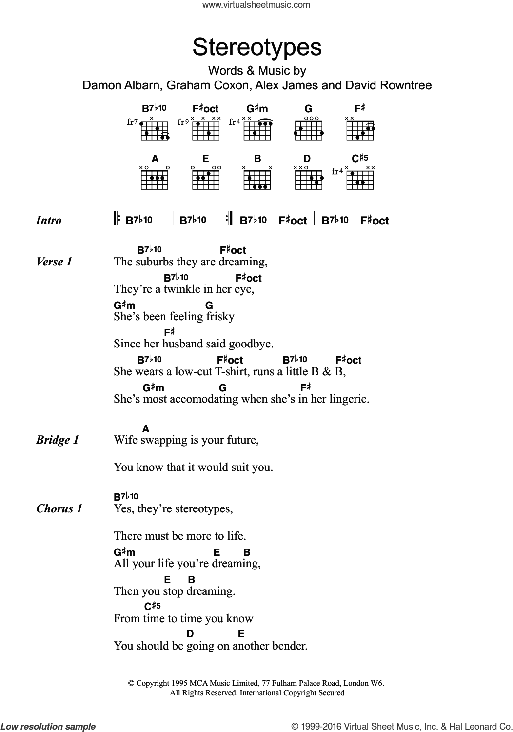 Stereotypes sheet music for guitar (chords) by Blur, Alex James and Damon Albarn, intermediate guitar (chords). Score Image Preview.