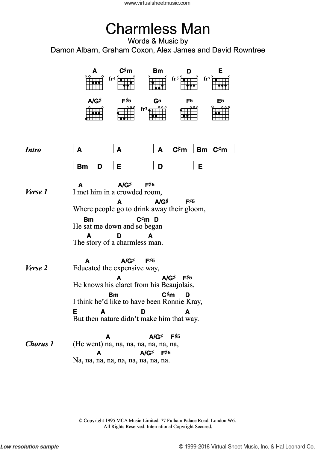 Charmless Man sheet music for guitar (chords) by Blur, Alex James, Damon Albarn, David Rowntree and Graham Coxon, intermediate skill level