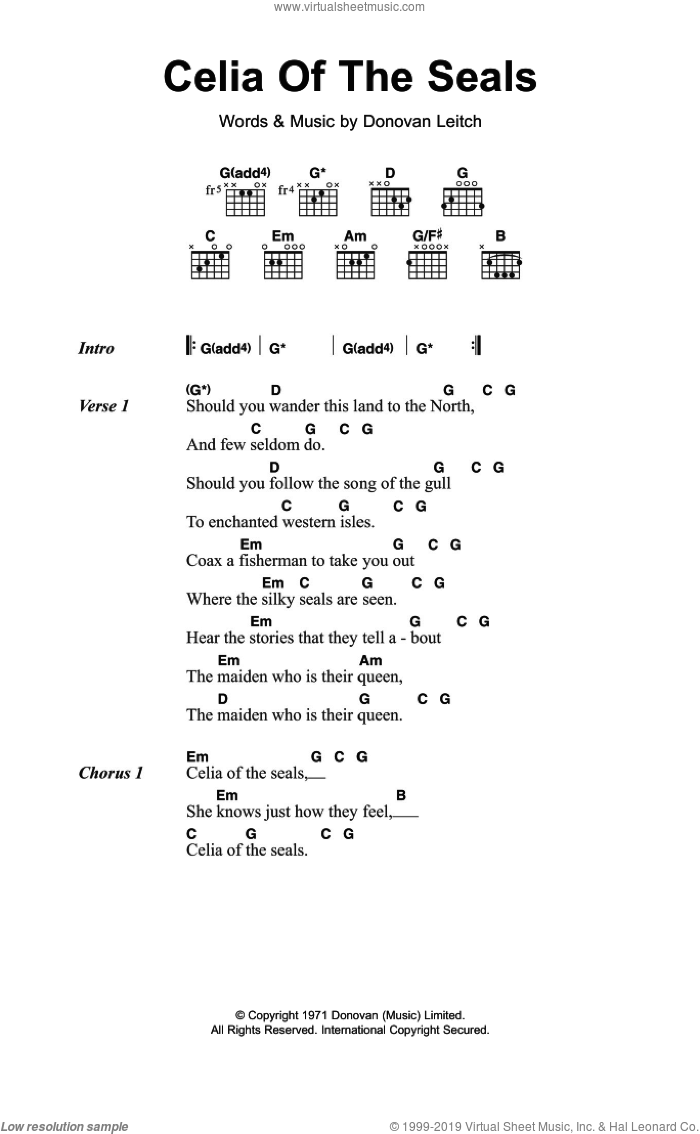 Celia Of The Seals sheet music for guitar (chords) by Walter Donovan, intermediate. Score Image Preview.