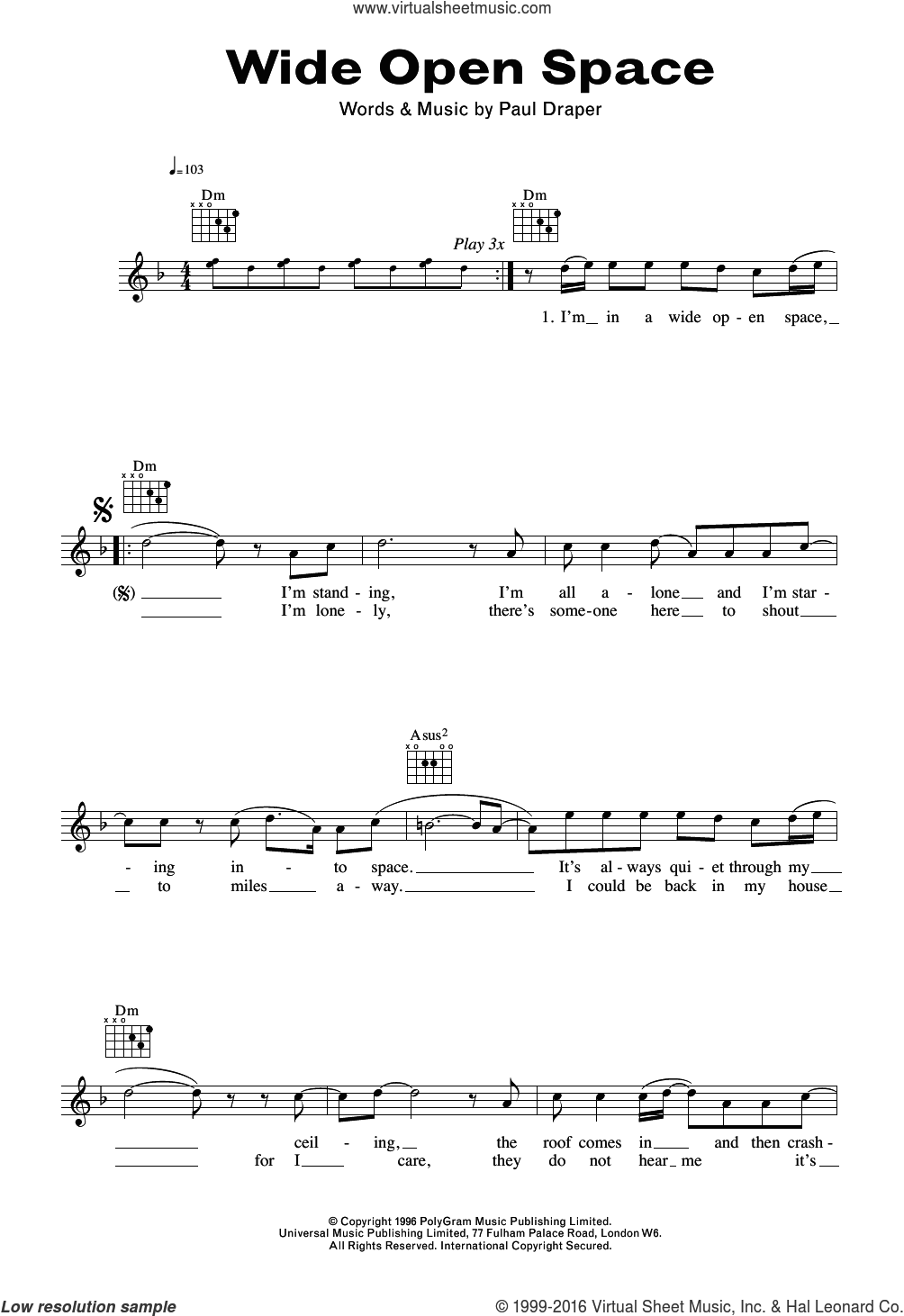 Wide Open Space sheet music for voice and other instruments (fake book) by Paul Draper. Score Image Preview.