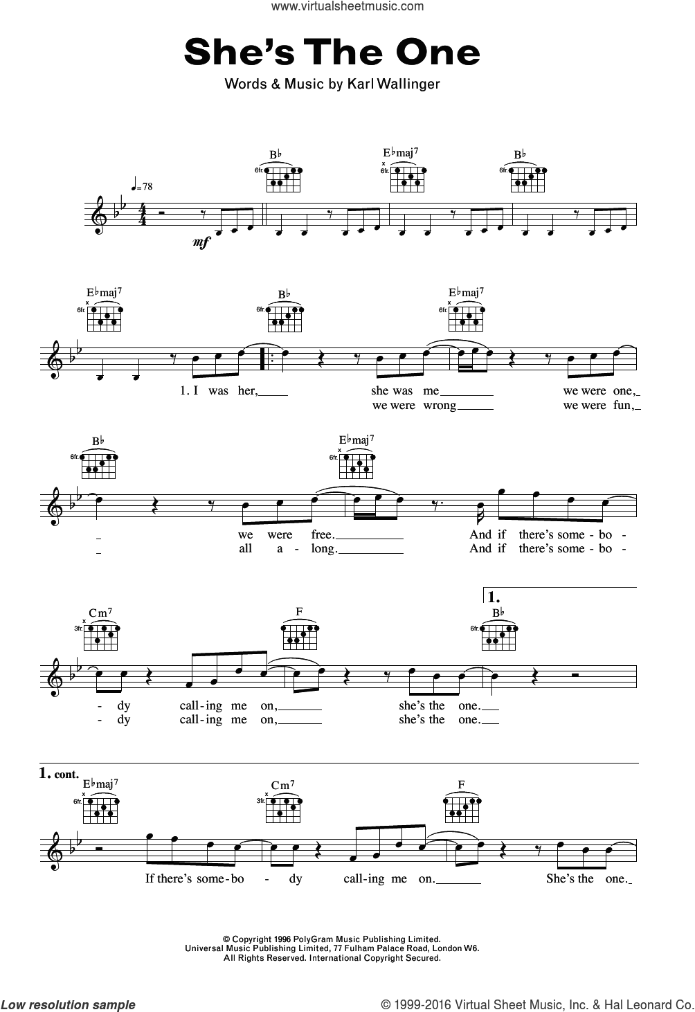 She's The One sheet music for voice and other instruments (fake book) by Robbie Williams and Karl Wallinger, intermediate skill level