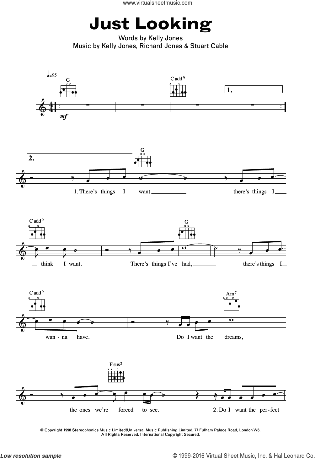 Just Looking sheet music for voice and other instruments (fake book) by Stuart Cable, Stereophonics, Kelly Jones and Richard Jones. Score Image Preview.