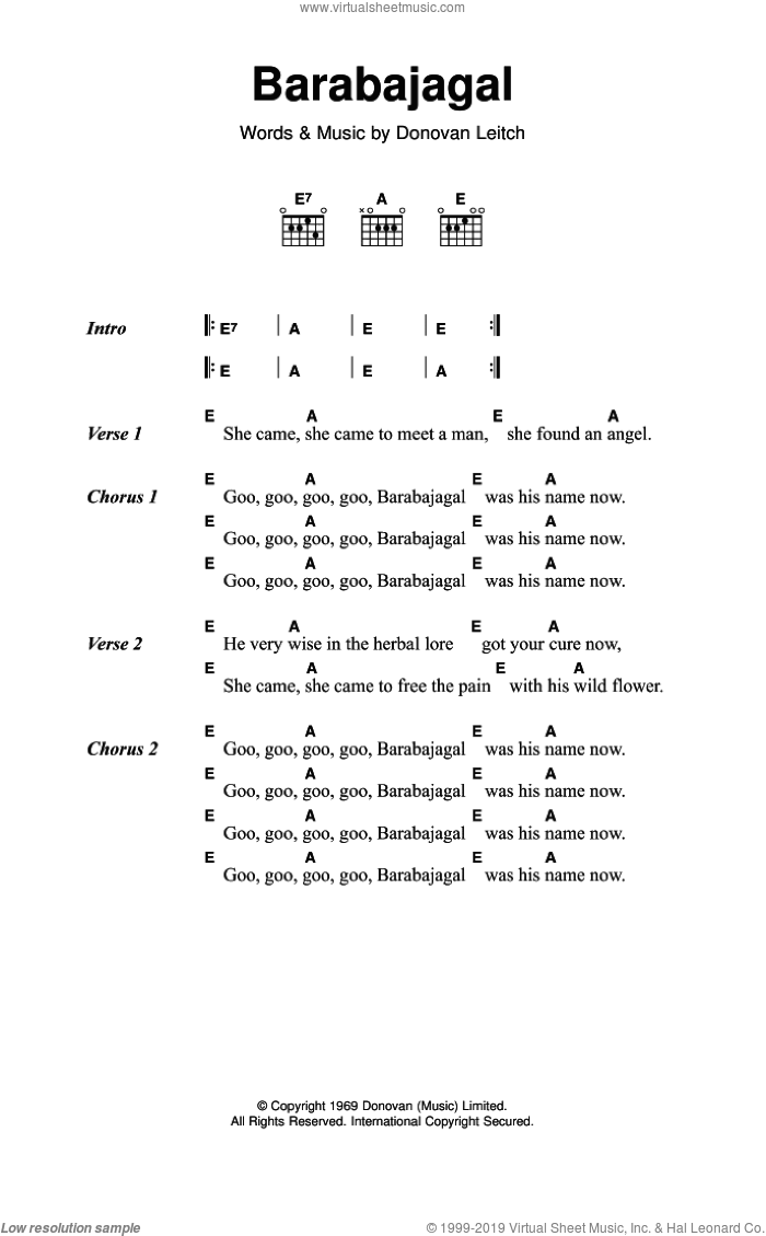 Barabajagal sheet music for guitar (chords) by Donovan Leitch and Walter Donovan. Score Image Preview.