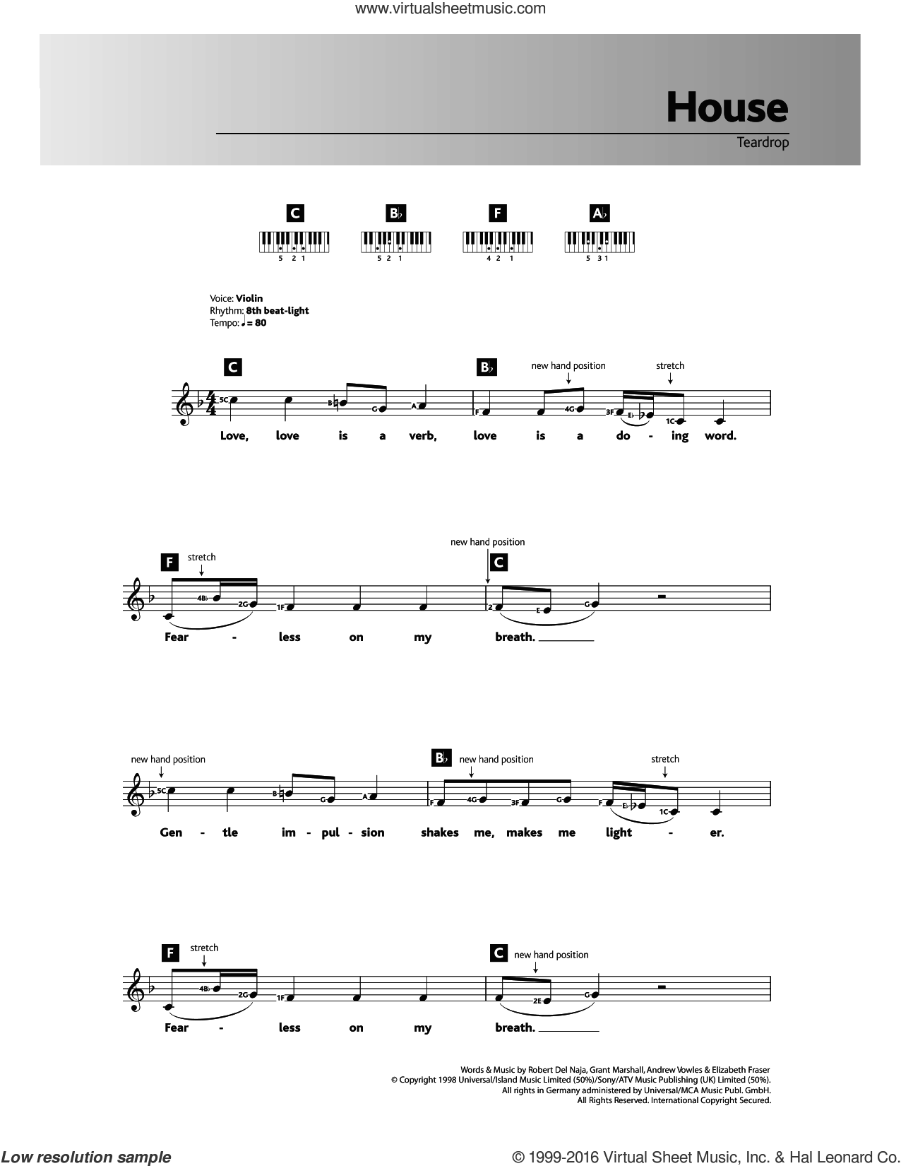 Teardrop (theme from House) sheet music for piano solo (chords, lyrics, melody) by Robert Del Naja, Massive Attack, Andrew Vowles and Elizabeth Fraser. Score Image Preview.