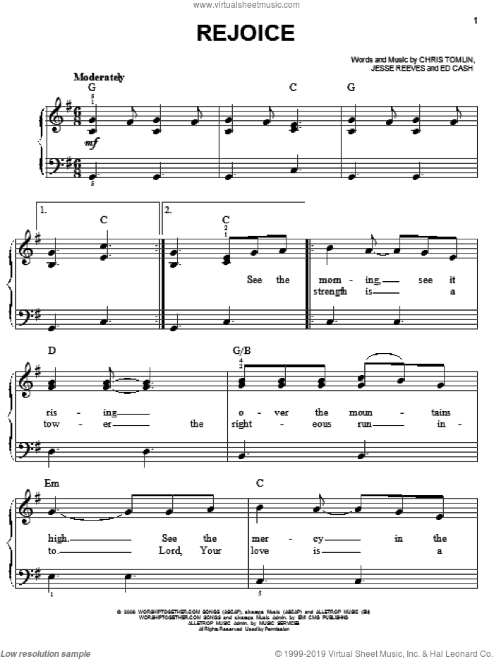 Rejoice sheet music for piano solo by Jesse Reeves, Chris Tomlin and Ed Cash. Score Image Preview.