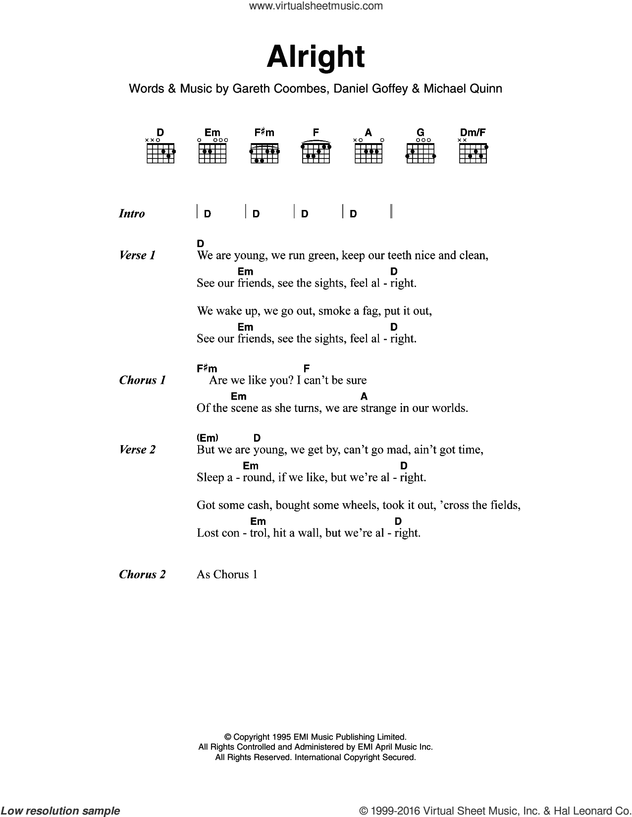 Alright sheet music for guitar (chords) by Michael Quinn, Supergrass, Daniel Goffey and Gareth Coombes. Score Image Preview.
