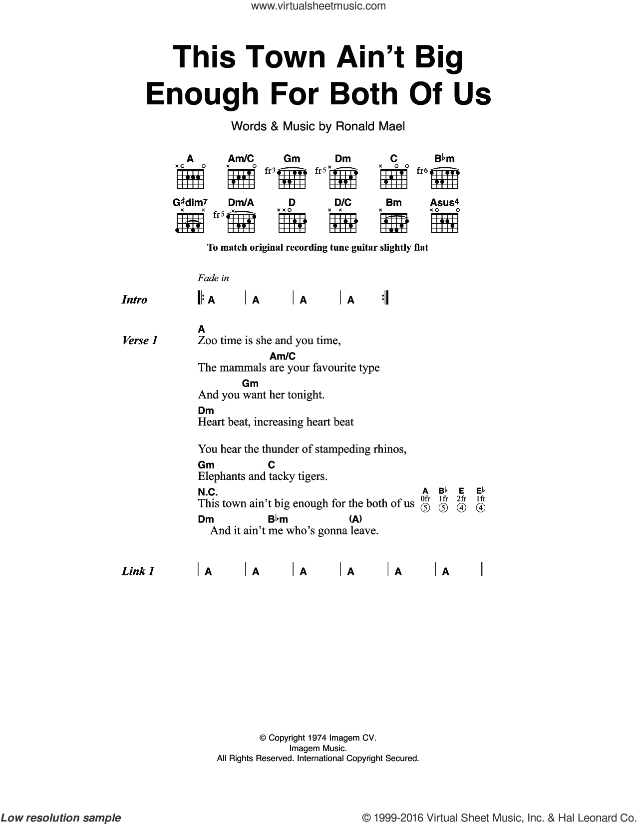 This Town Ain't Big Enough For Both Of Us sheet music for guitar (chords) by Sparks. Score Image Preview.