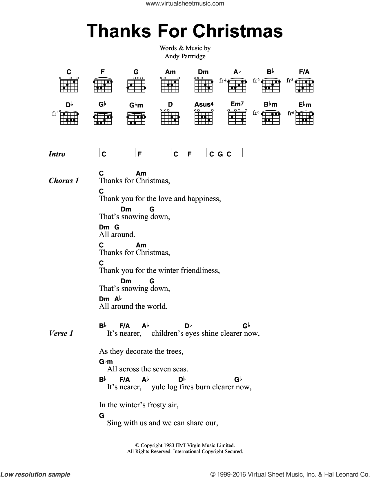 Thanks For Christmas sheet music for guitar (chords) by XTC and Andy Partridge, intermediate skill level