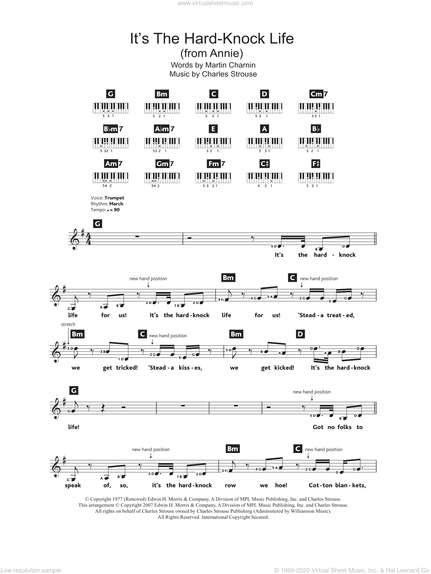 Strouse - It's The Hard-Knock Life (from Annie) sheet music (intermediate)  for piano solo (chords, lyrics, melody)